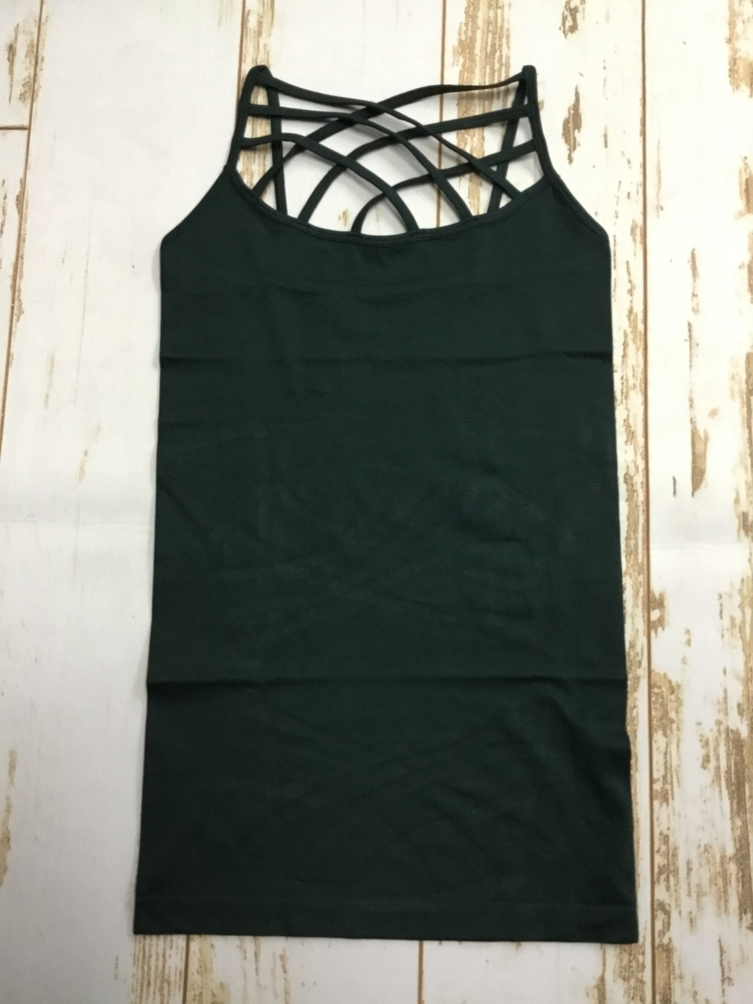 Zenana Triple Cross Cami in Hunter Green