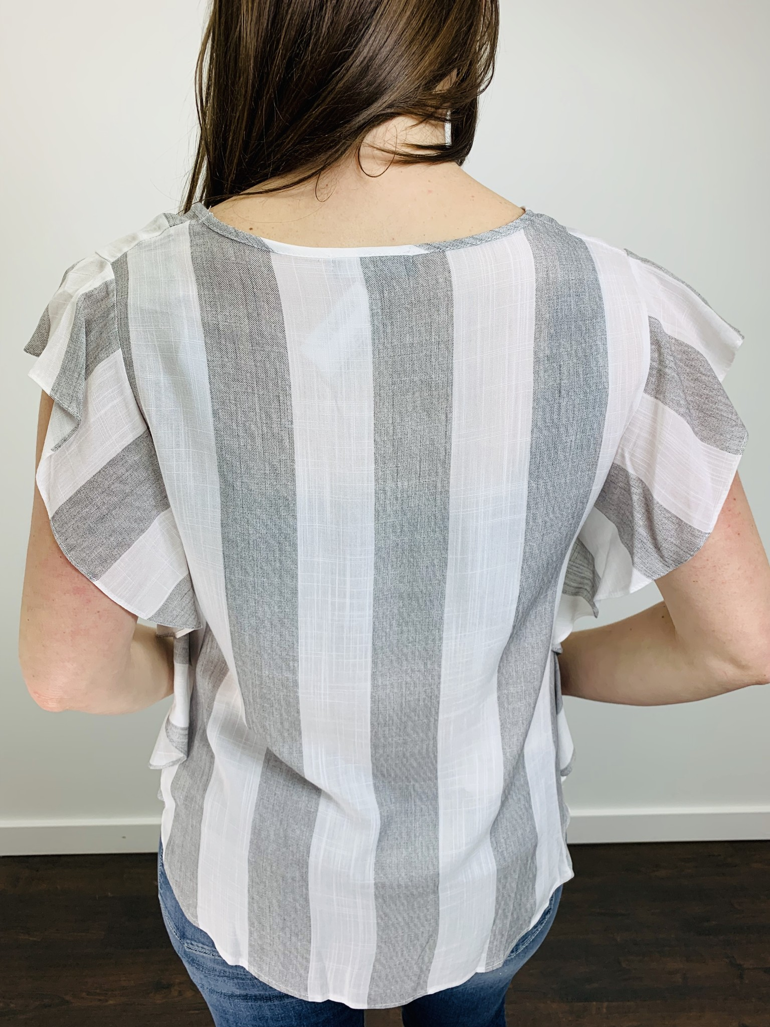 KLD Striped Twisted Front Blouse