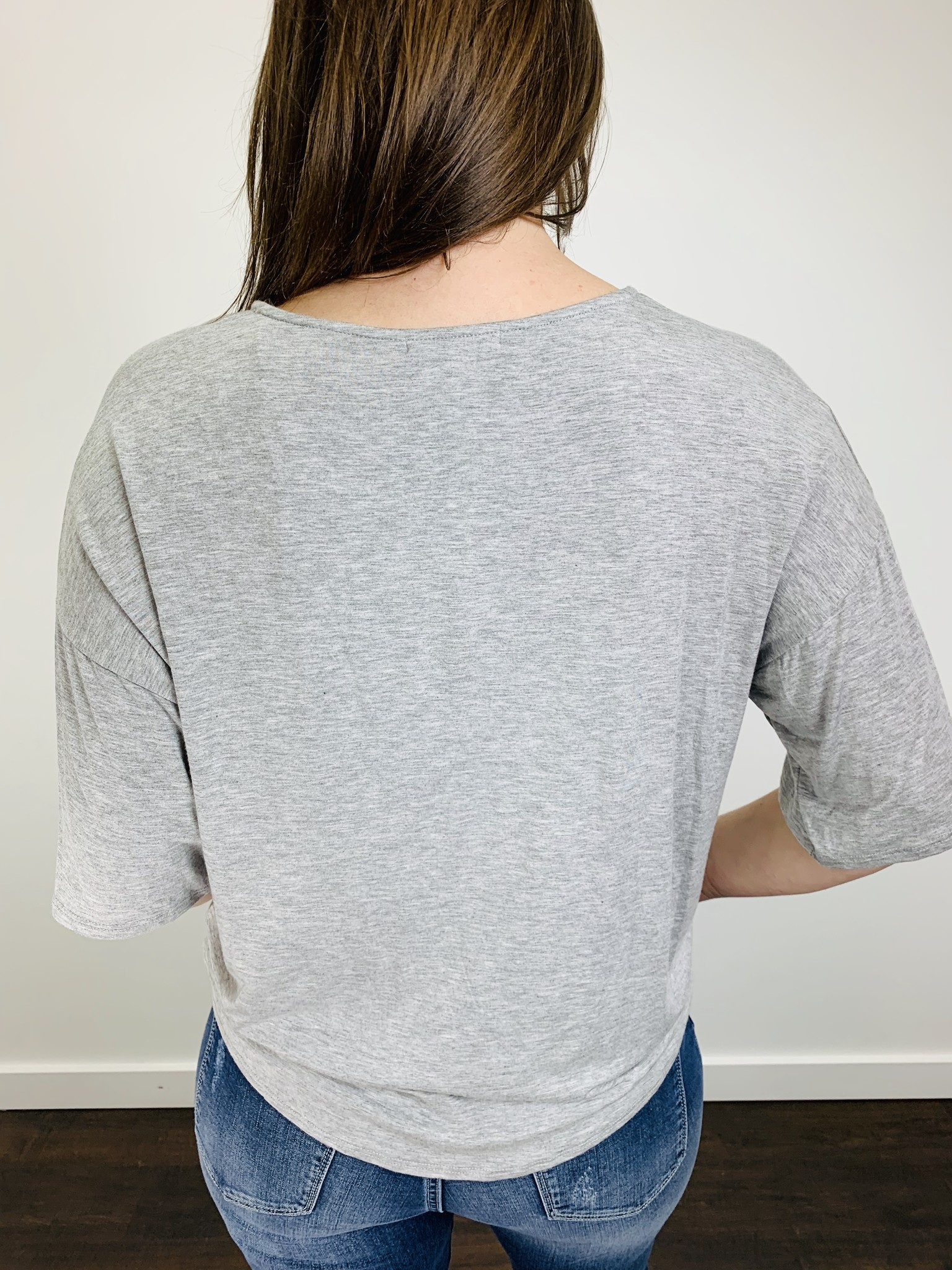 KLD VNeck Tie Front Jersey Tee in Heathered Gray