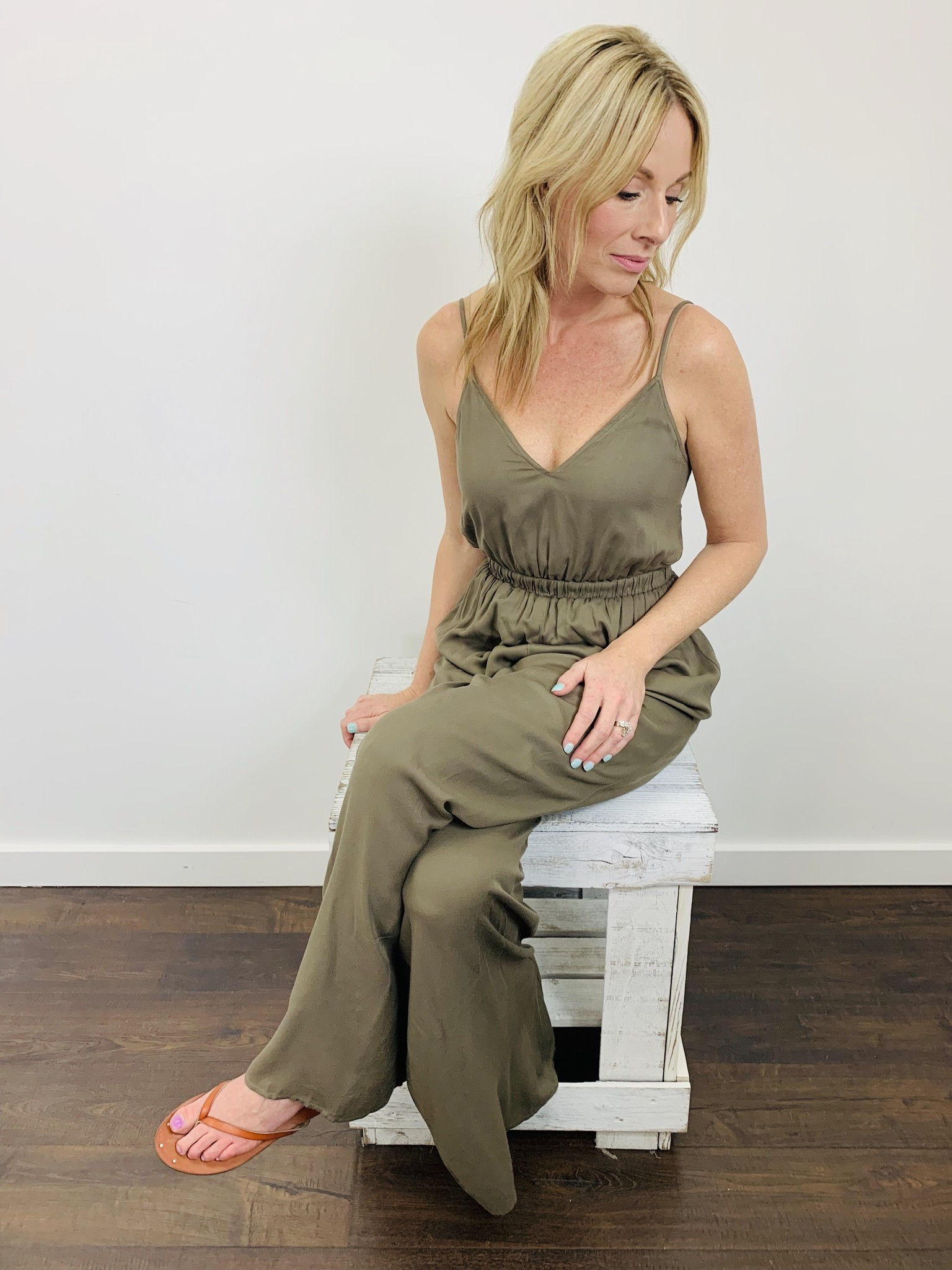 KLD Tie Back Wide Leg Jumpsuit in Olive