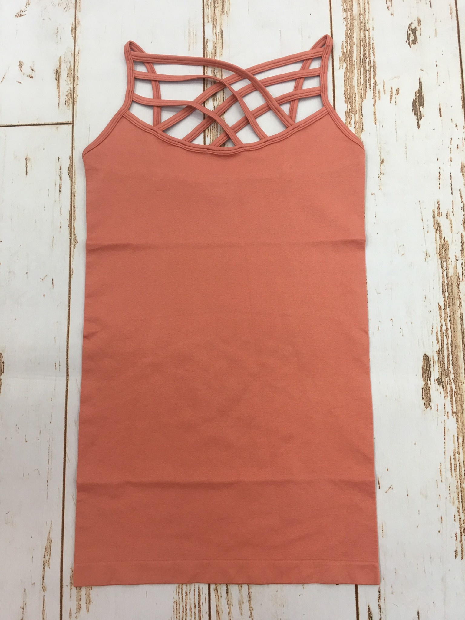 Zenana seamless triple cross cami ash rose