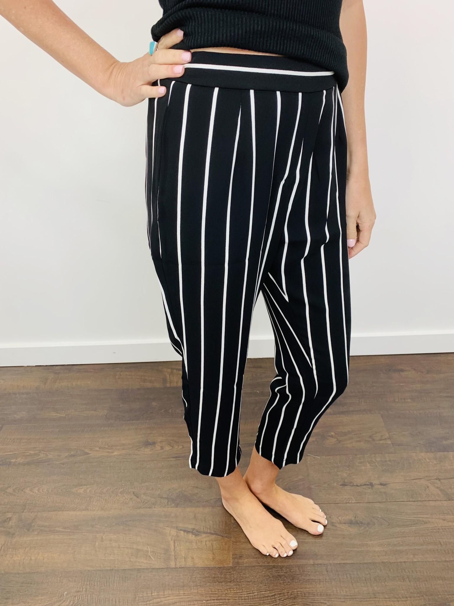 Orb Sasha Pant in Black and White Stripe