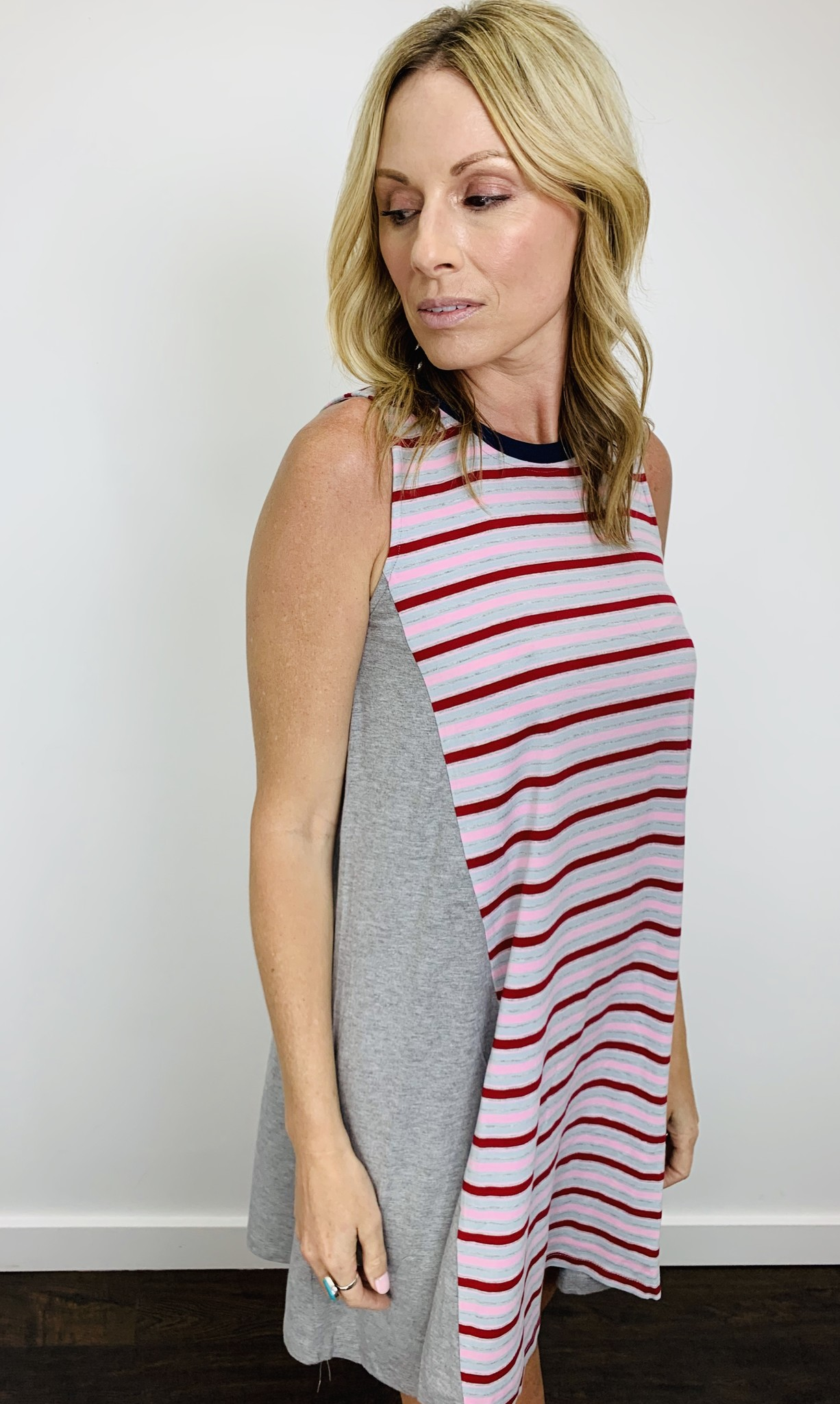 Hem & Thread Banded Back Stripe Dress