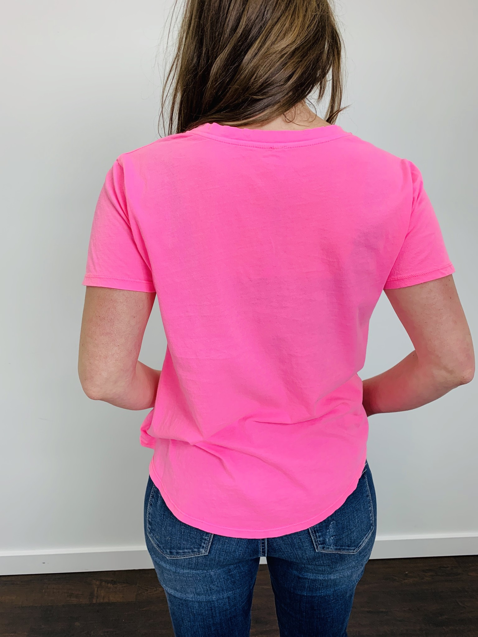 ZSupply The Neon V-Neck Tee in Neon Pink