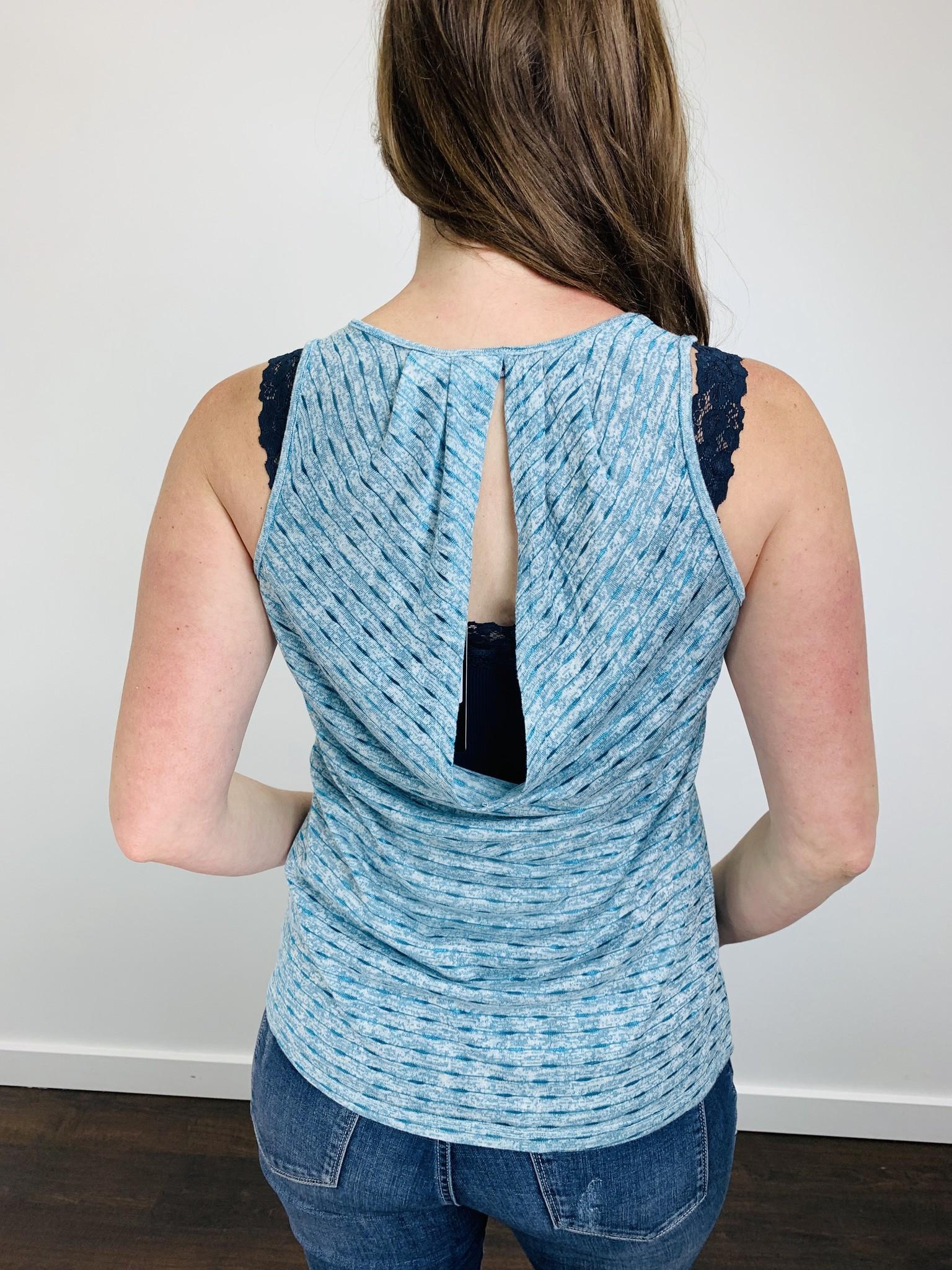 Neesha Striped Slub Cowl Back Blue