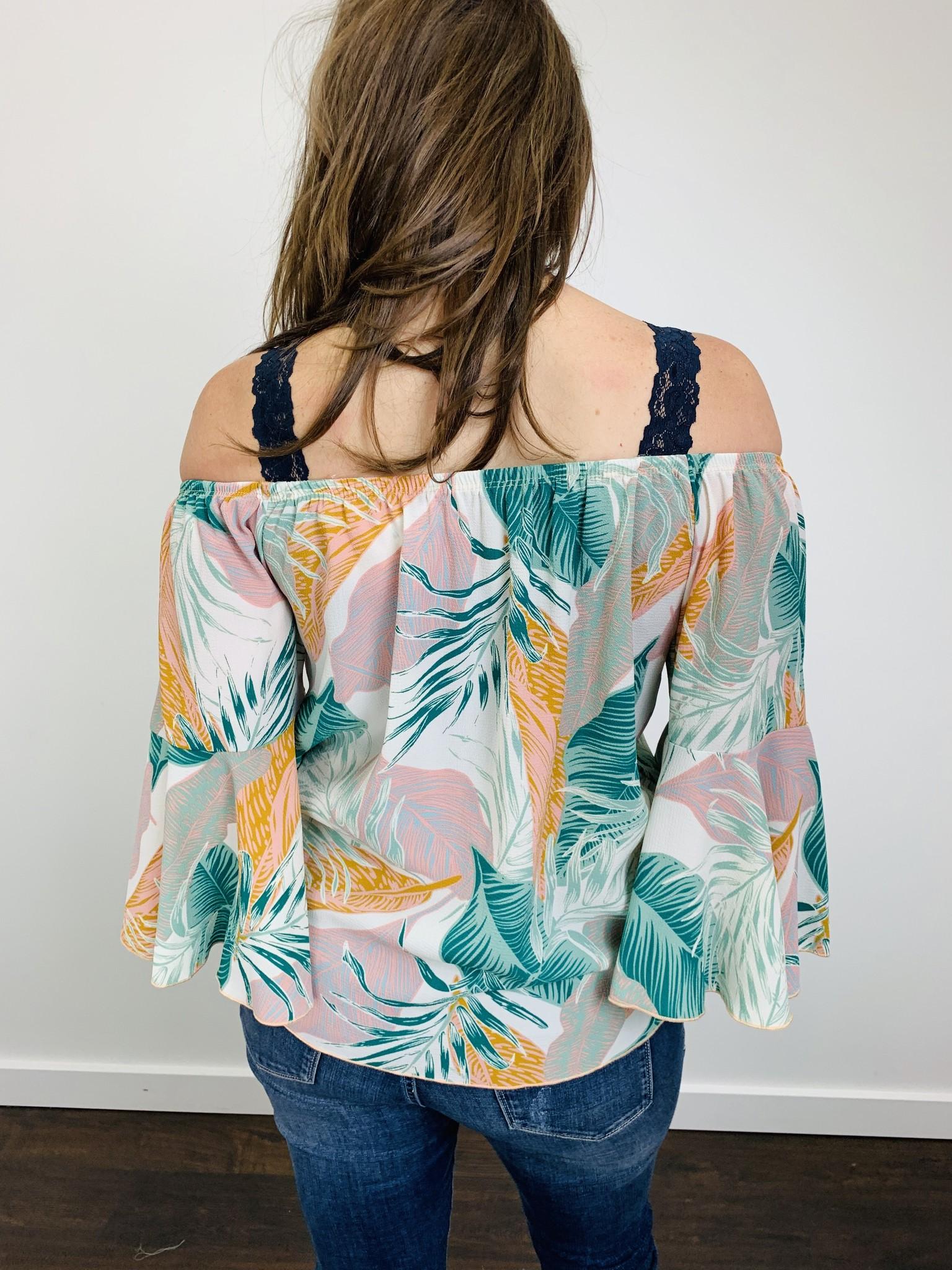 KLD Leaf Print OTS Tie Shirt