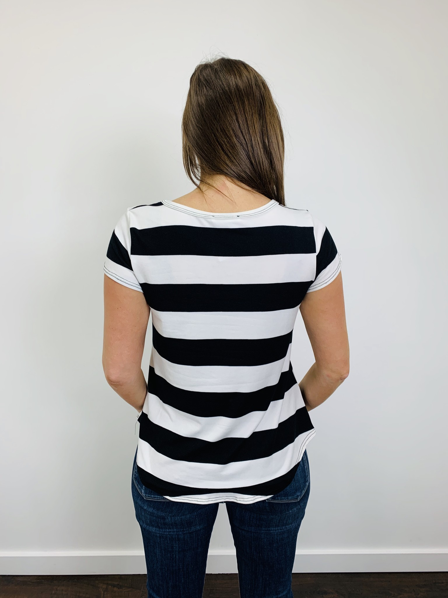 BomBom Stripe Tee Black