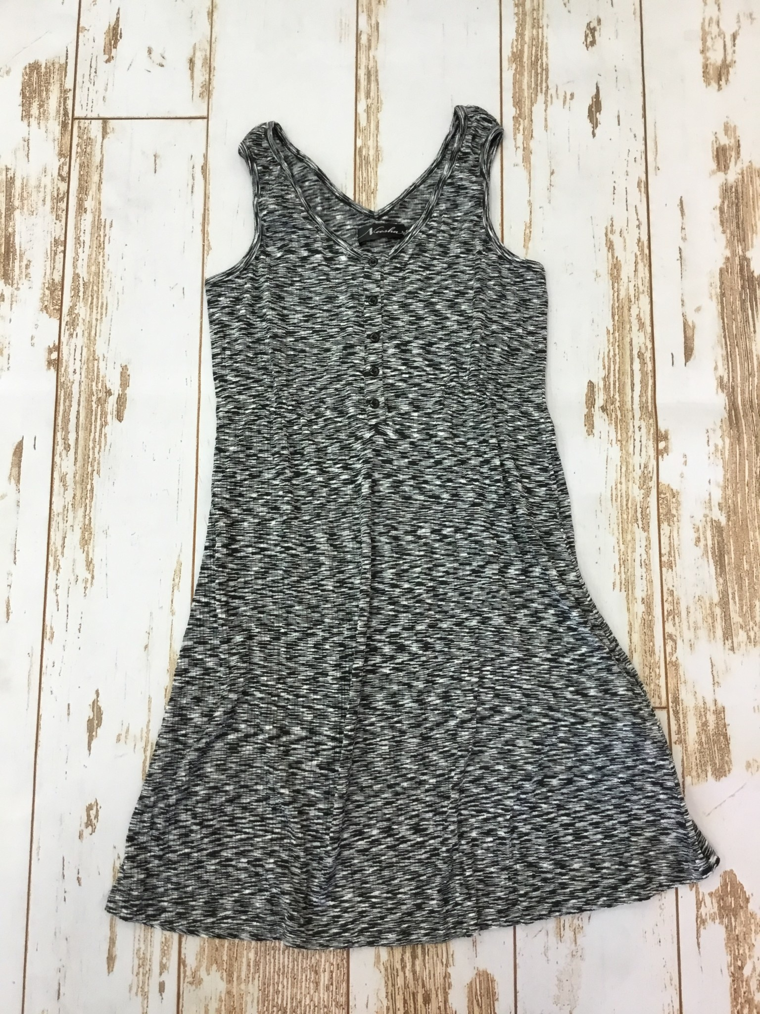 Neesha Athleisure Crinkle Smocked Button Dress in Black