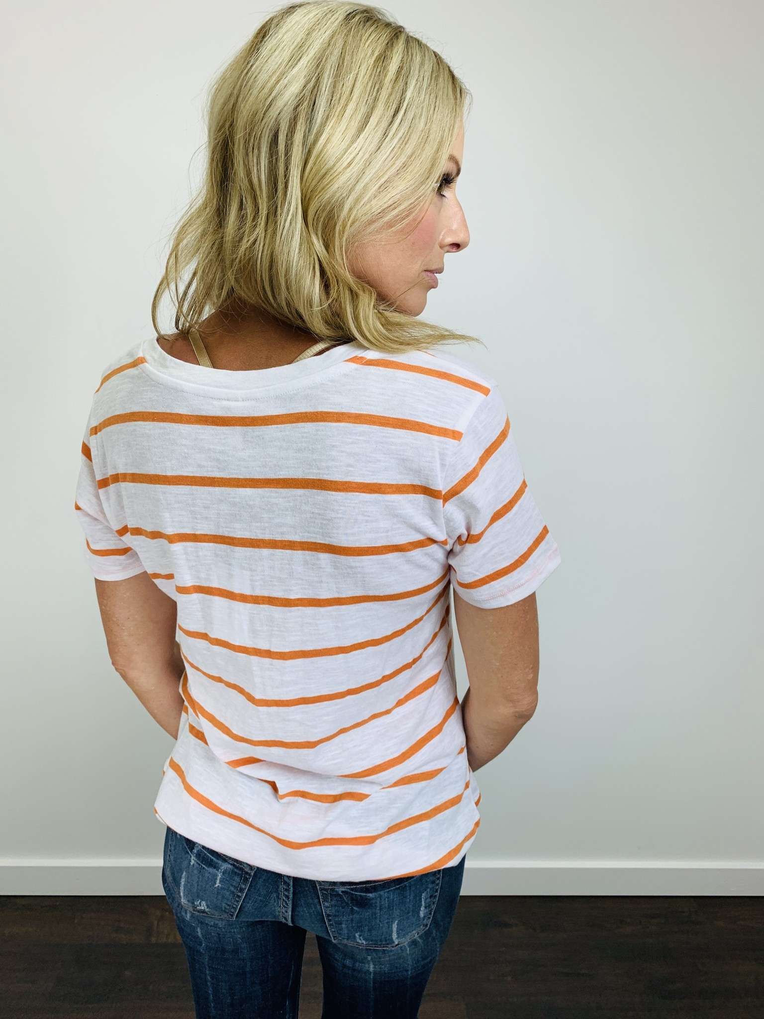 ZSupply The Vienna V-Neck Tee in Jaffa Orange