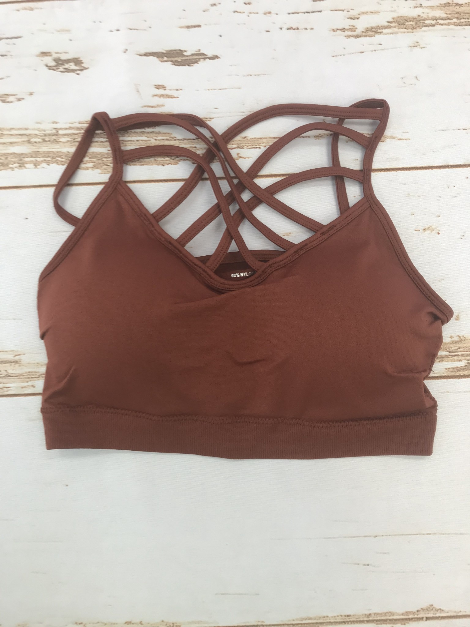 Zenana seamless triple cross bralette dark rust