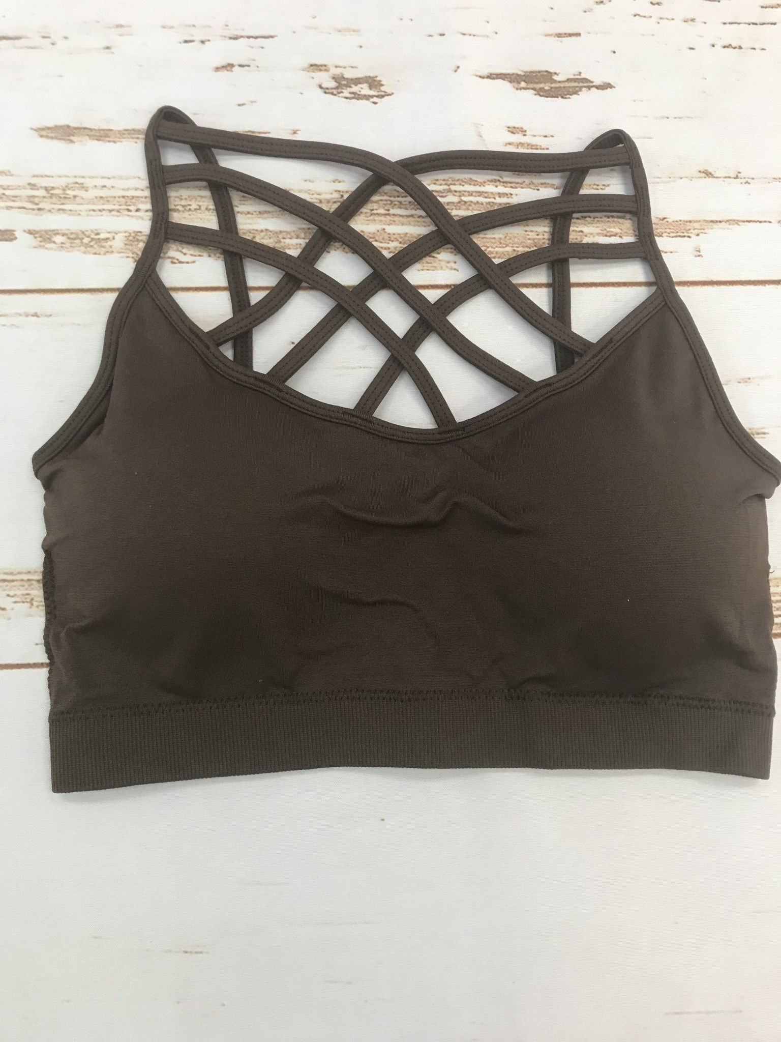 Zenana seamless triple cross bralette brown
