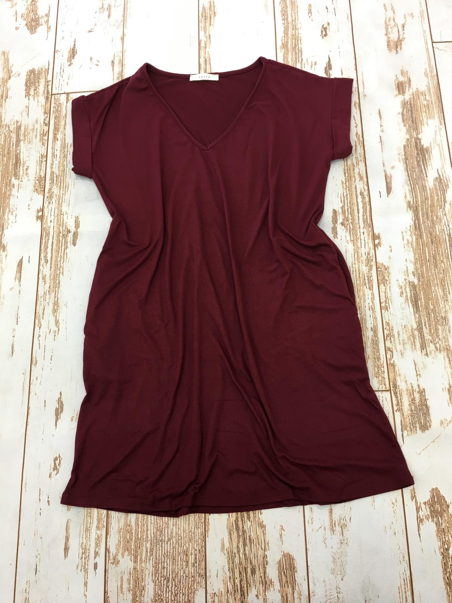 Entro V Neck Knit Dress Wine