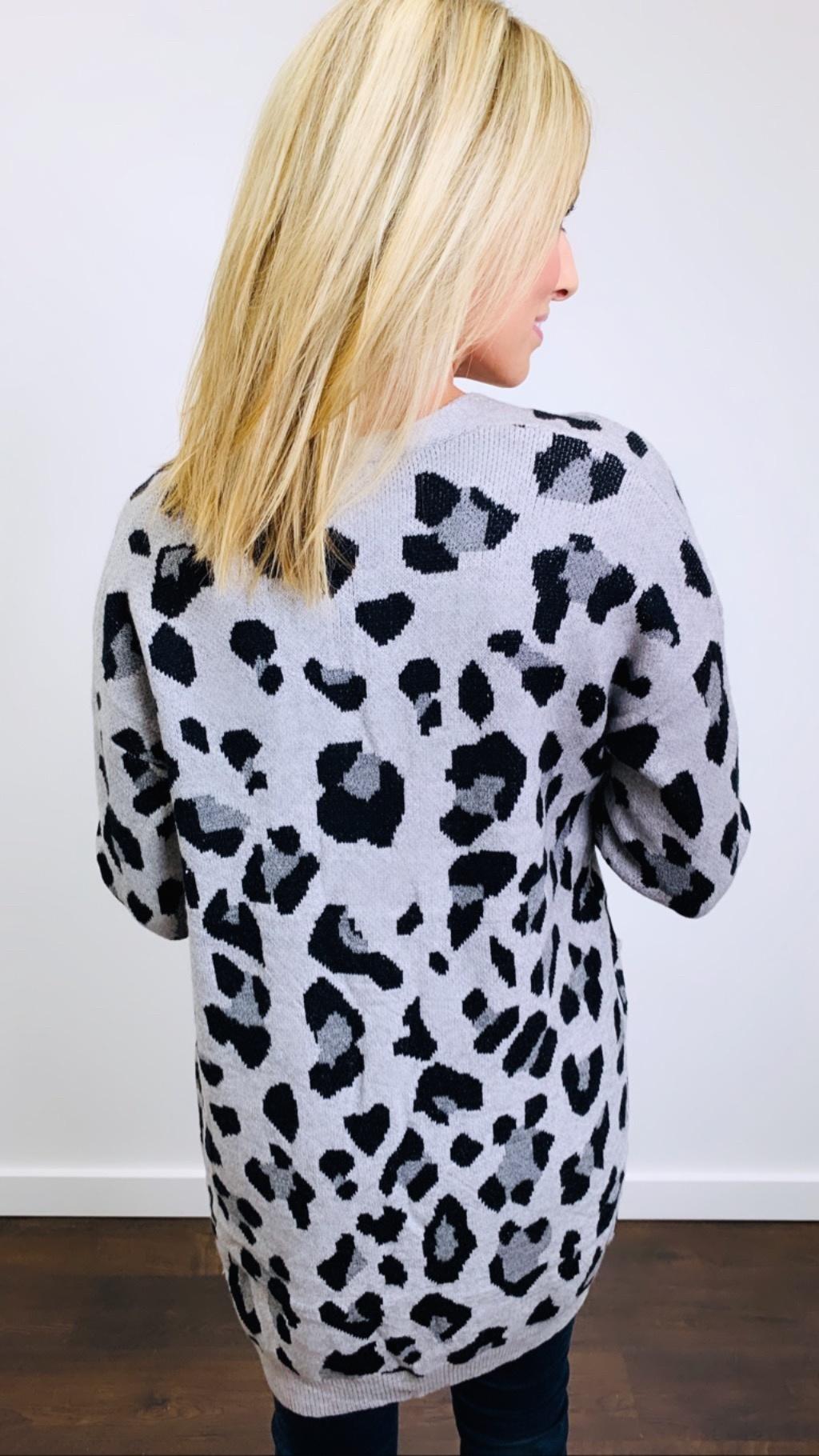 Entro Leopard Cardigan Heather Grey
