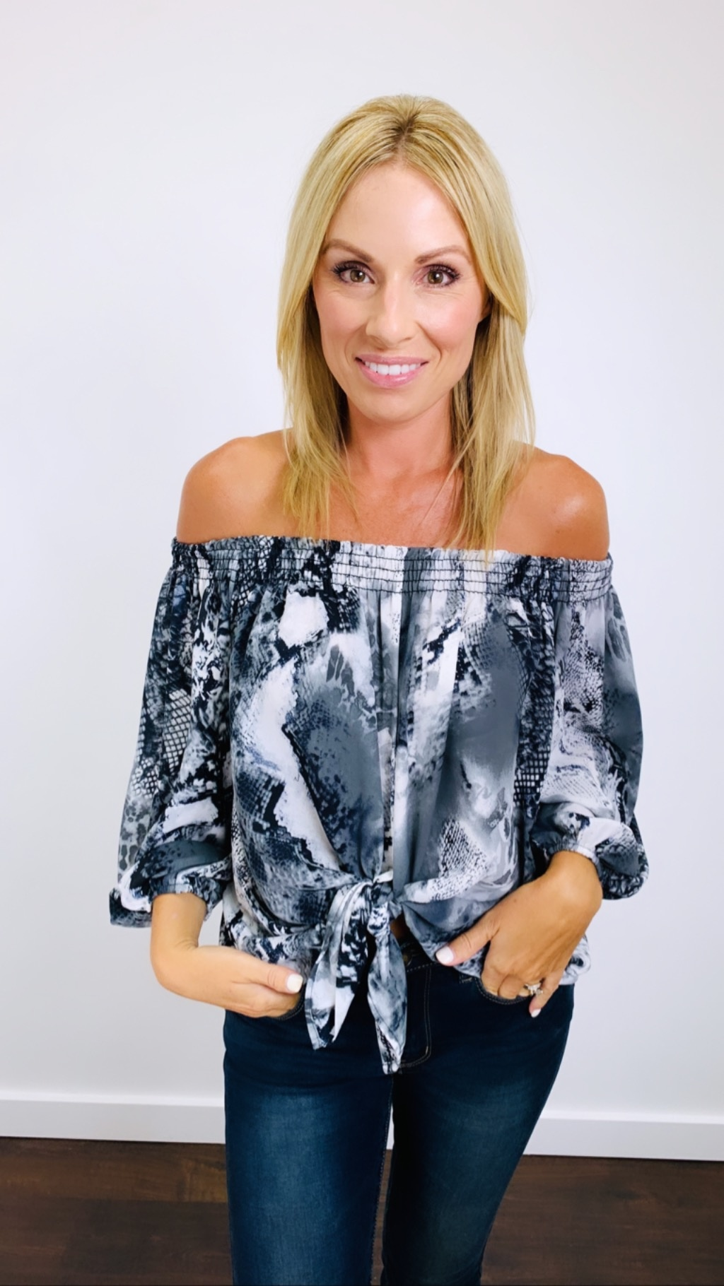 Ariella Snake Print Off The Shoulder Top