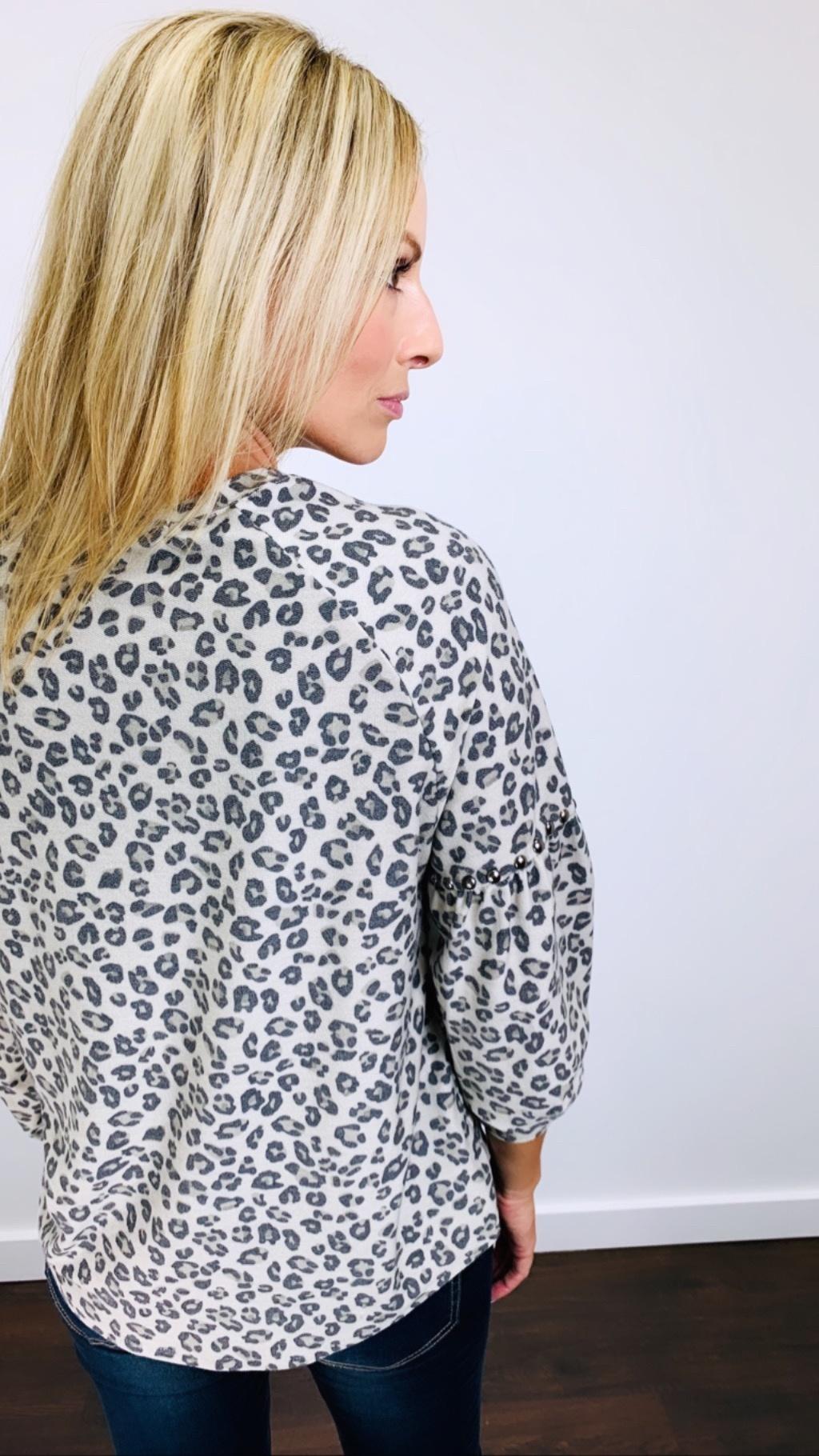 Ariella Bell Sleeve Leopard w/ Stud Detail