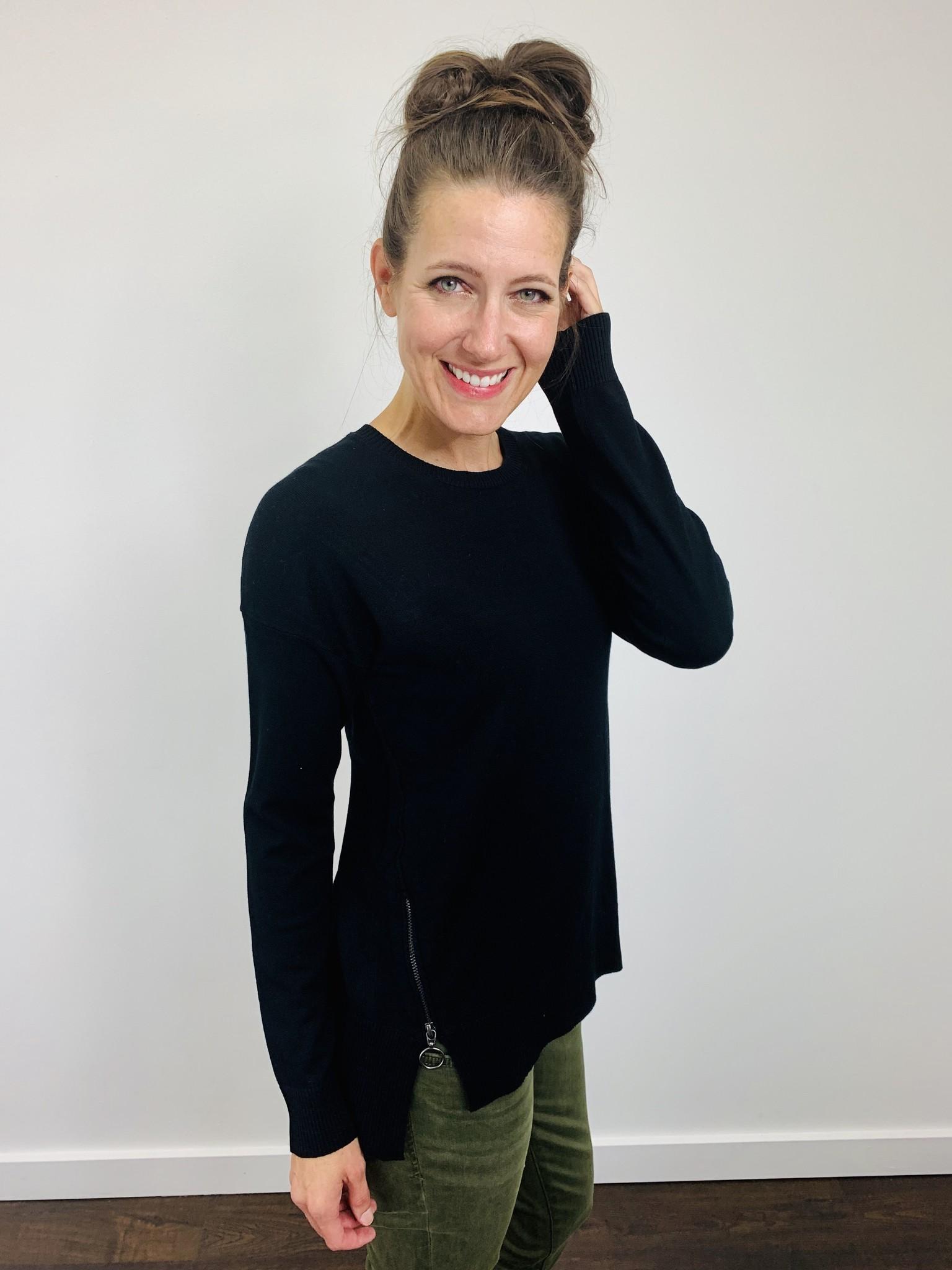 Dex Black Zipper Detail Sweater
