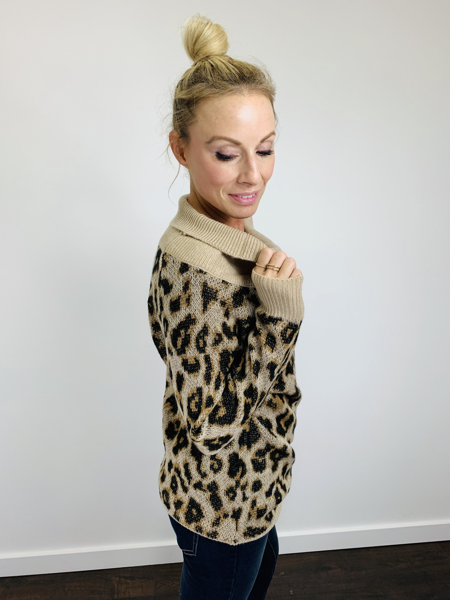 Others Follow Leopard Cowl Neck Tunic