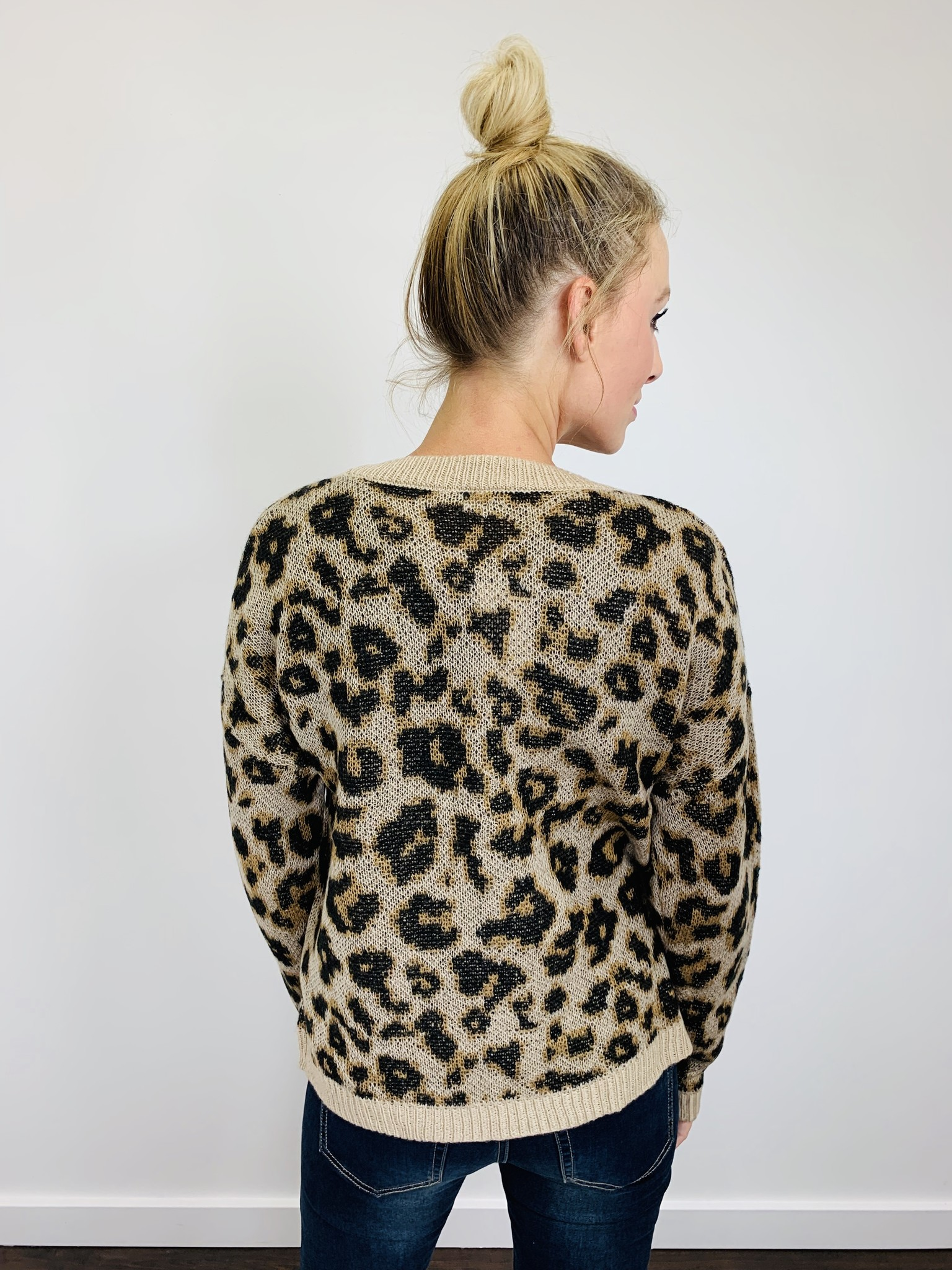 Others Follow Leopard Button Front Cardigan