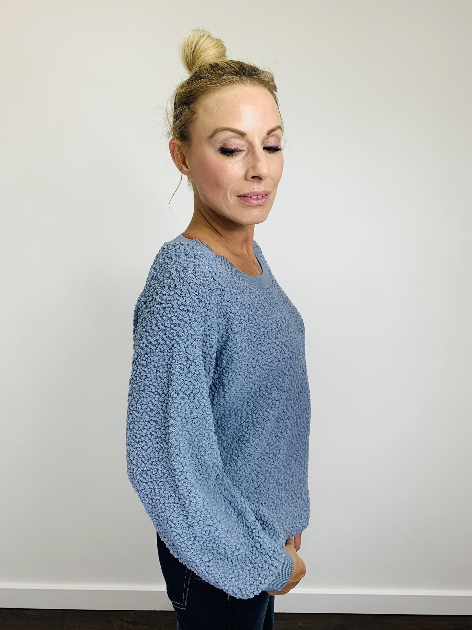 Rag Poets Adams Sweater in Dusty Blue