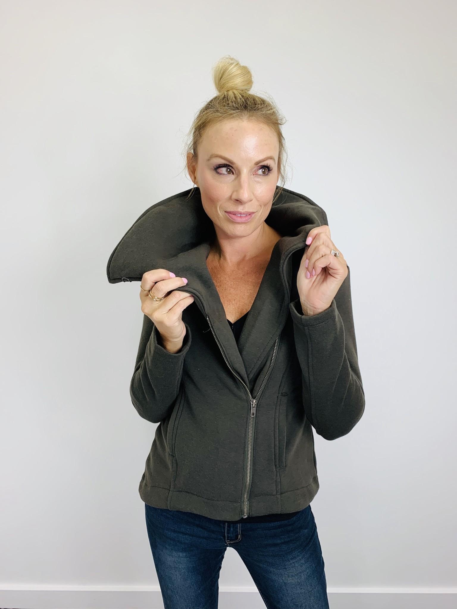 Hem & Thread Assymmetric Zip Jacket in Olive