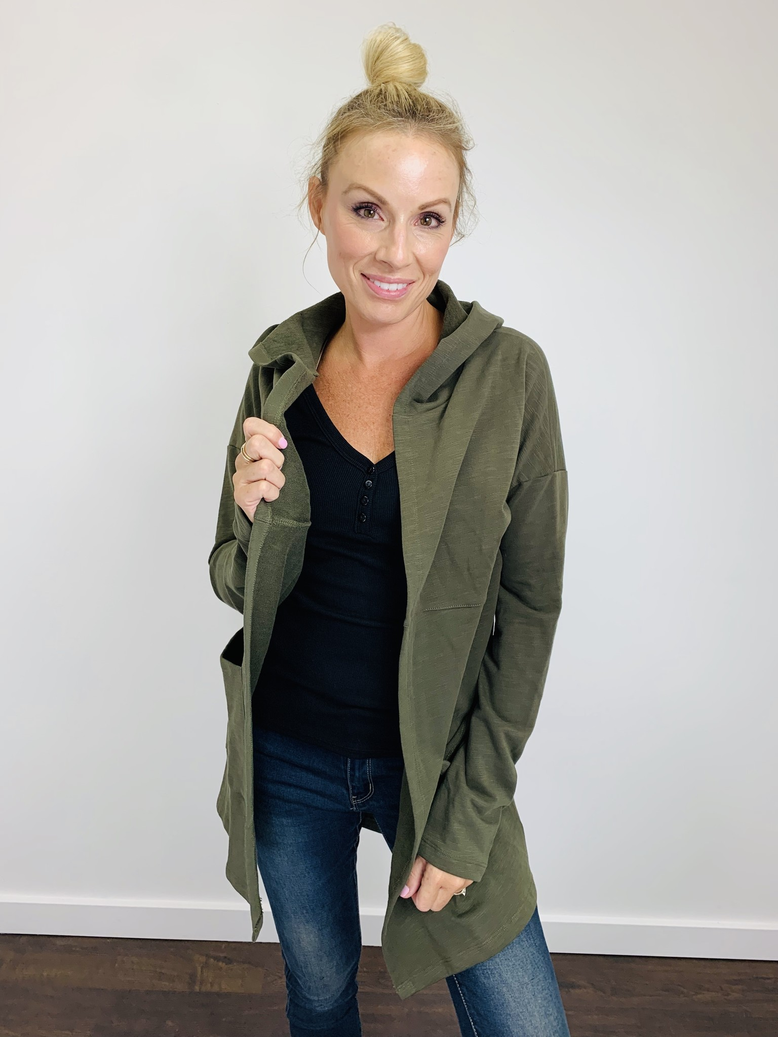 Hem & Thread Hooded French Terry Cardi in Olive