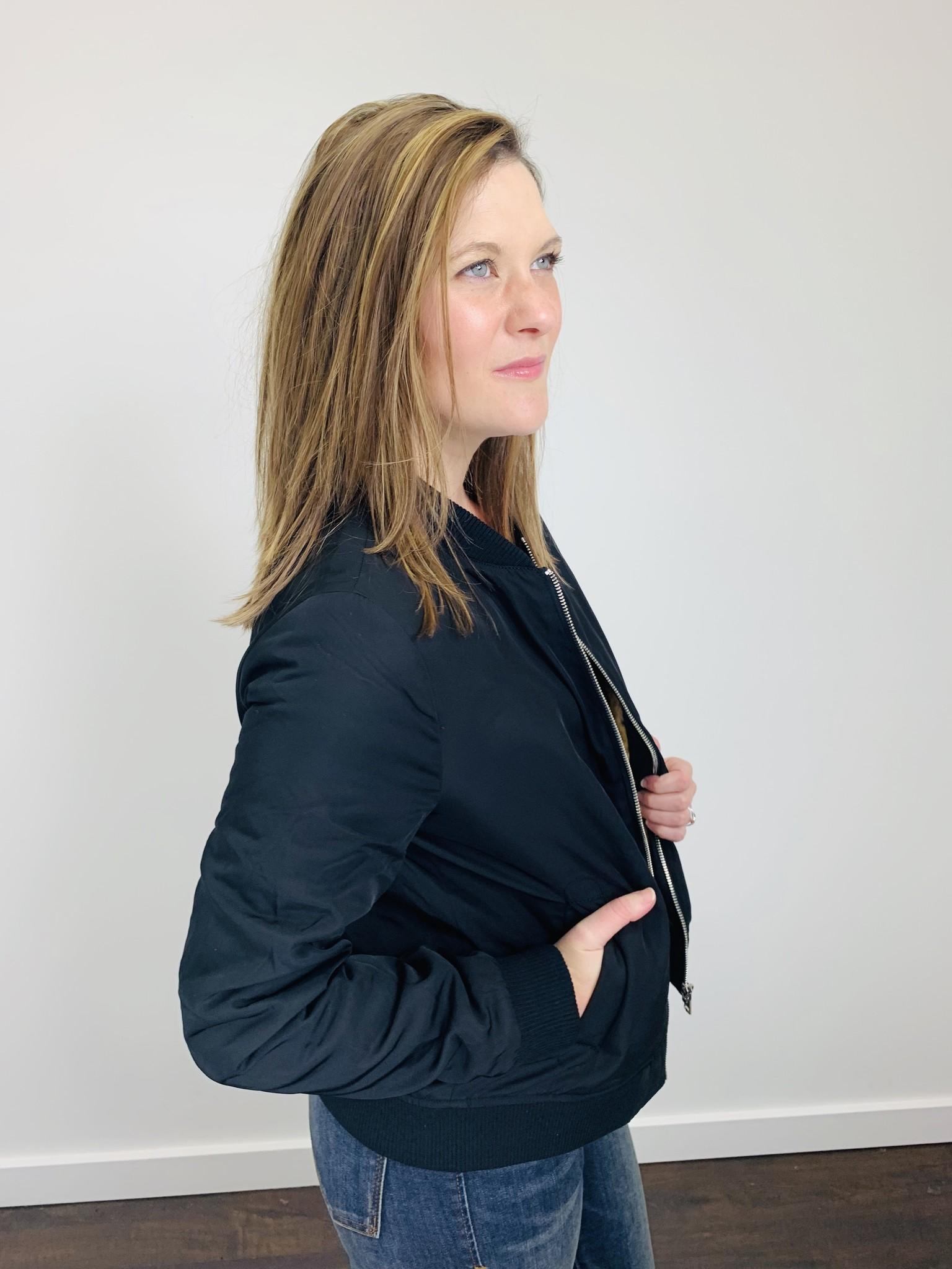 M Rena Black Bomber Jacket