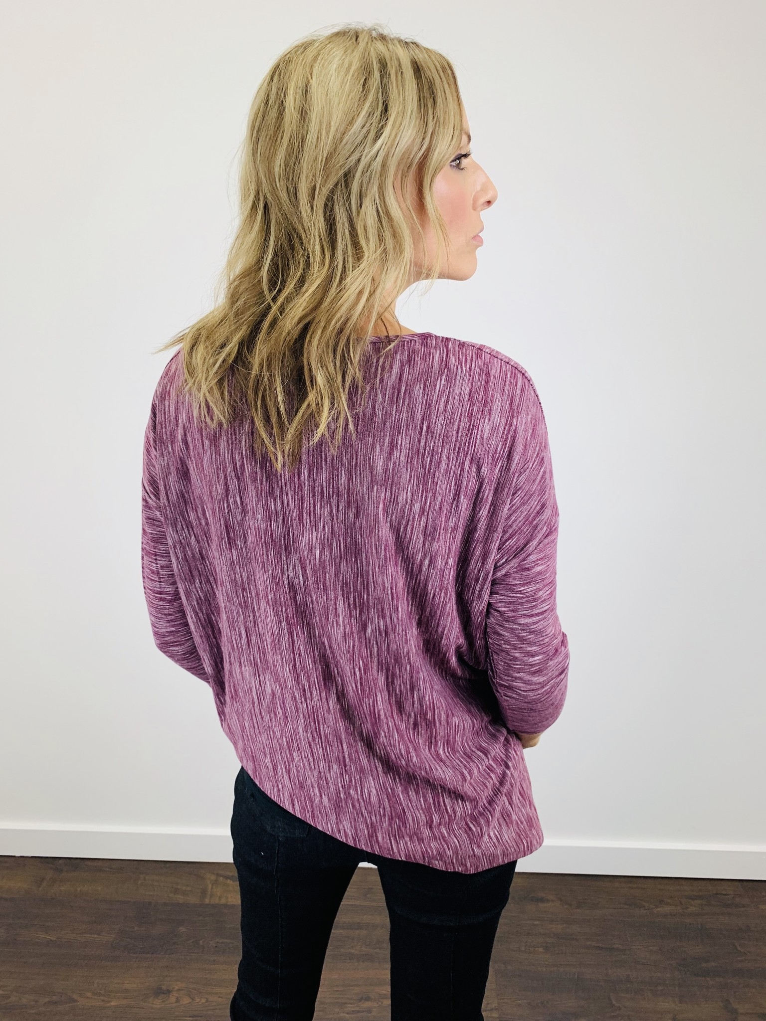 Bobi 3/4 Sleeve High Low Wine