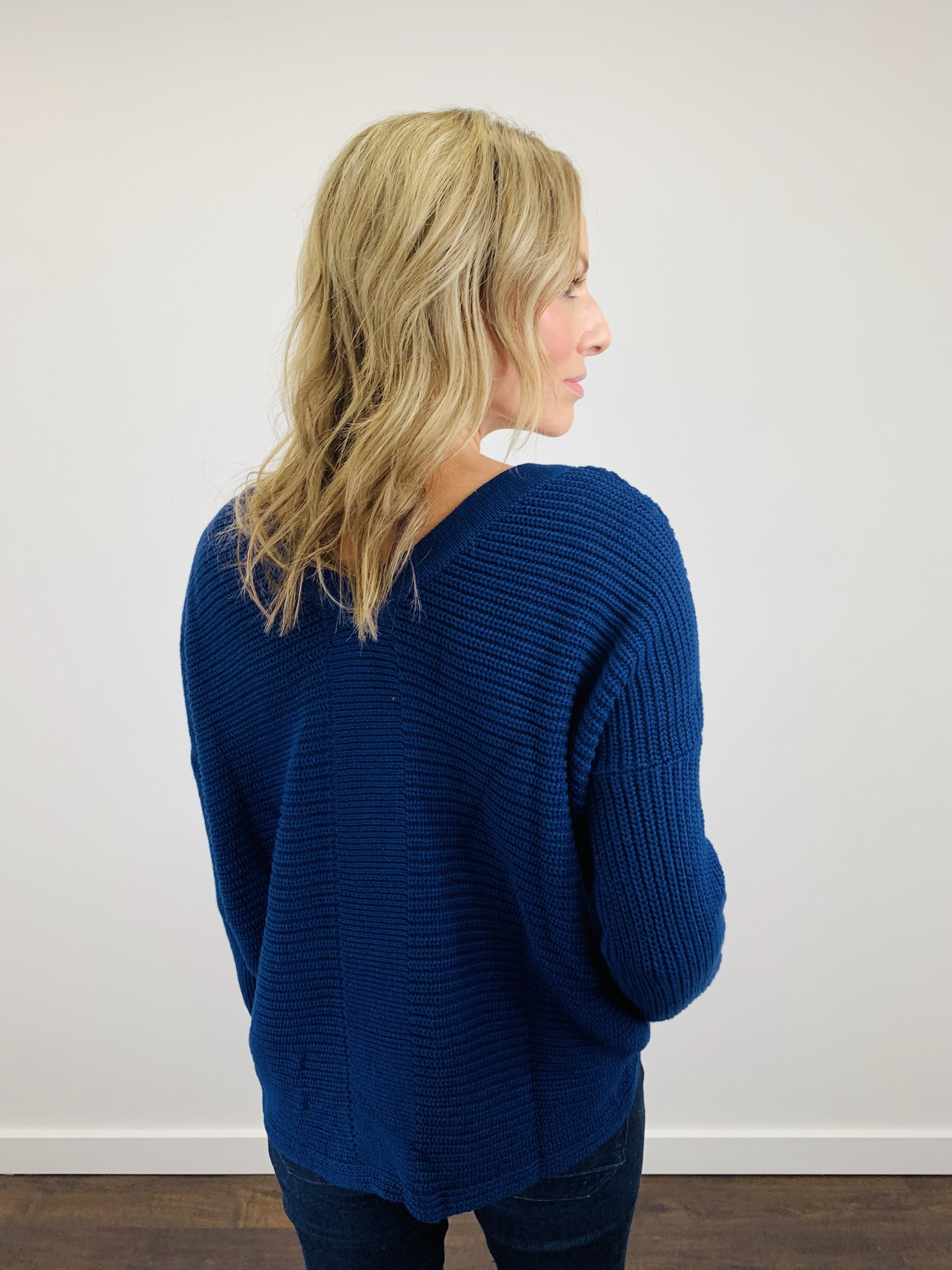 Fate Lace Up Navy Sweater