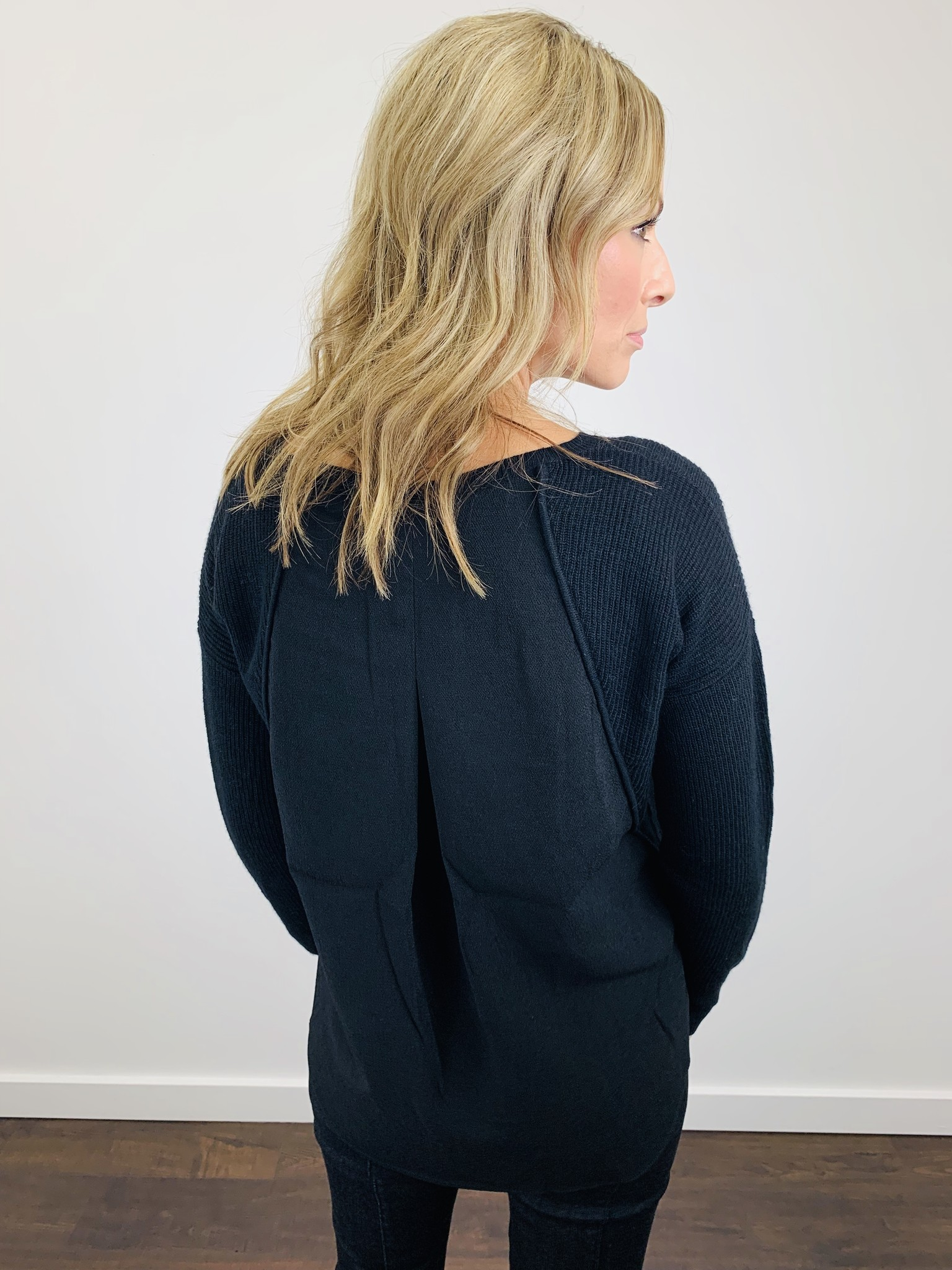 Fate Black Sweater with Woven Back