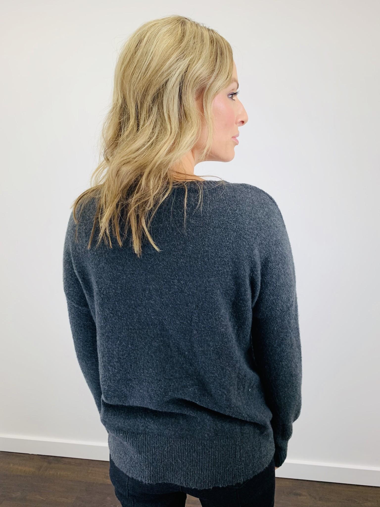 Karissa & Me Cozy Crew Sweater in Charcoal