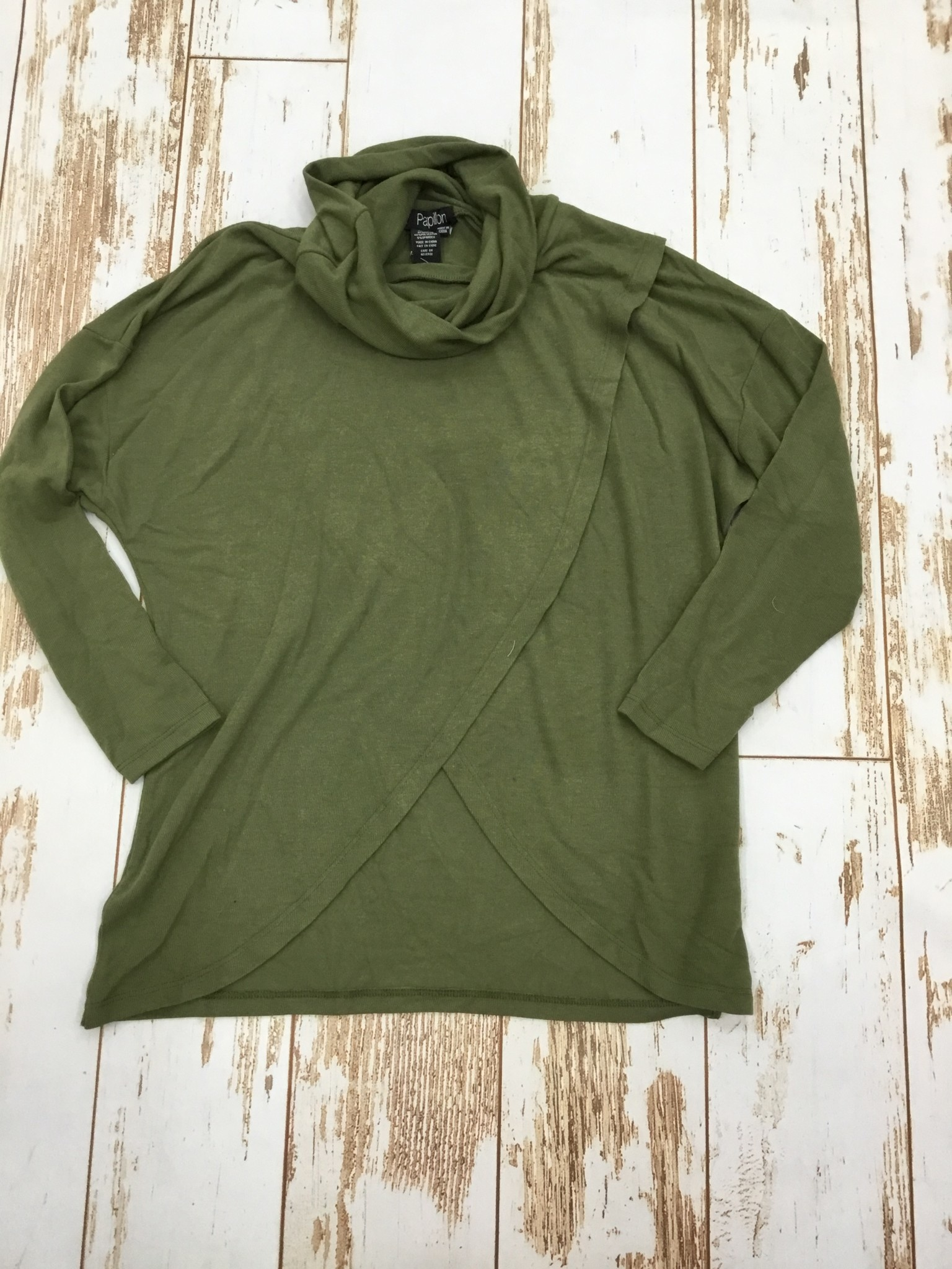 Papillon Cowl Neck Crossover Front Sweater in Olive