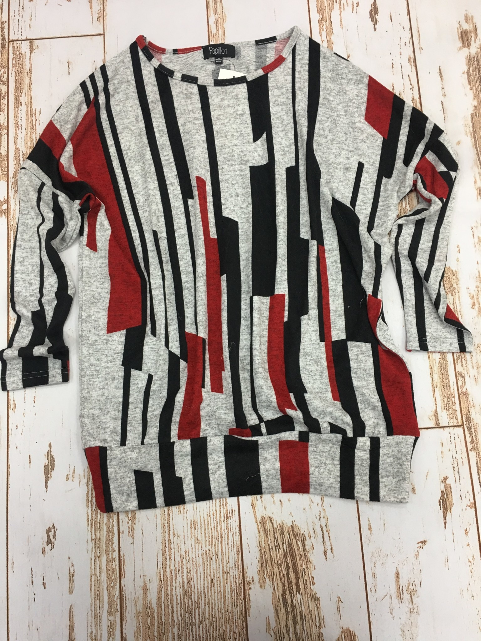 Papillon Linear Print Oversided Sweatshirt in Red
