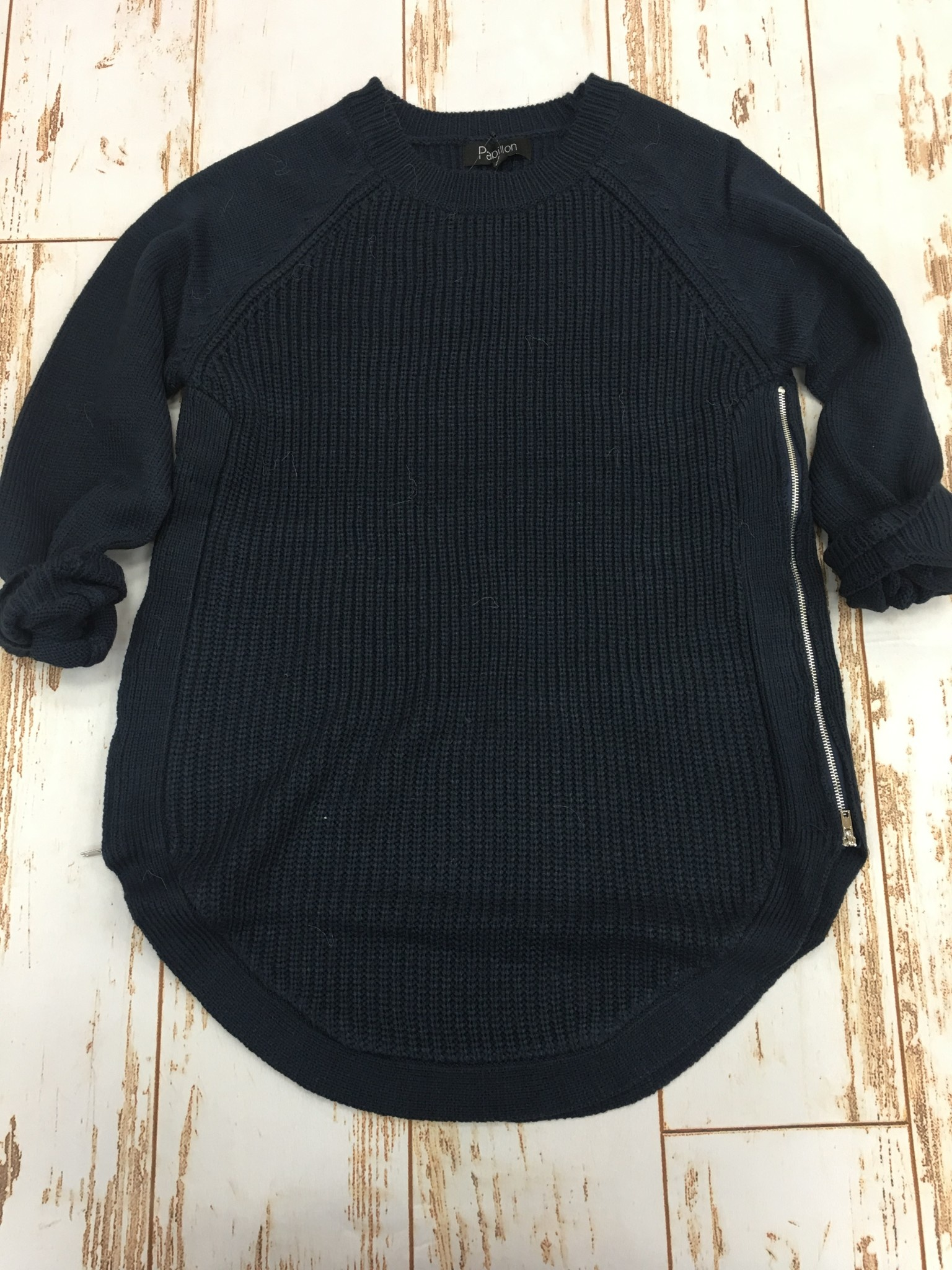 Papillon Side Zip Sweater Navy