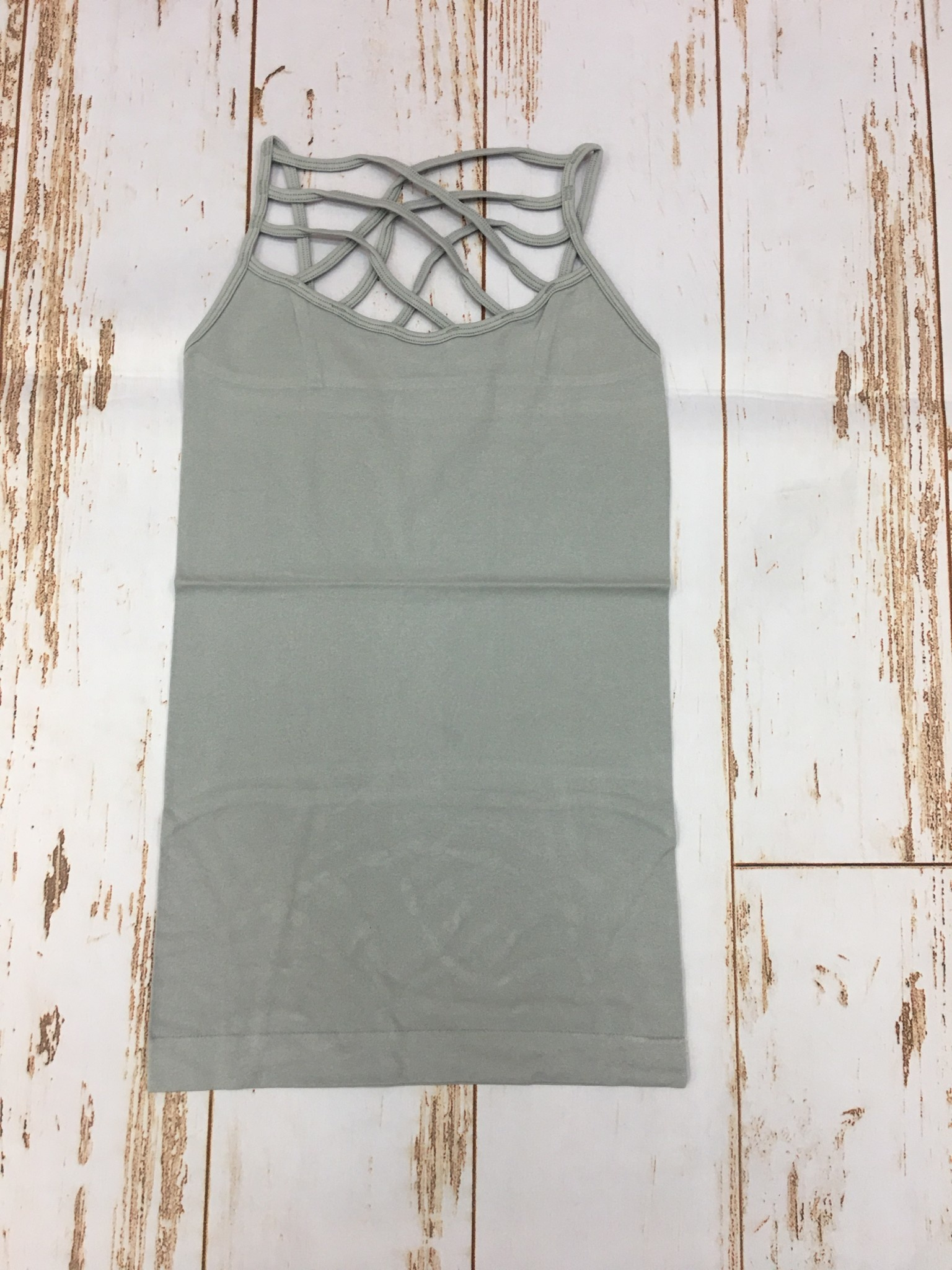 Zenana Seamless Triple Cross Cami Grey Mist