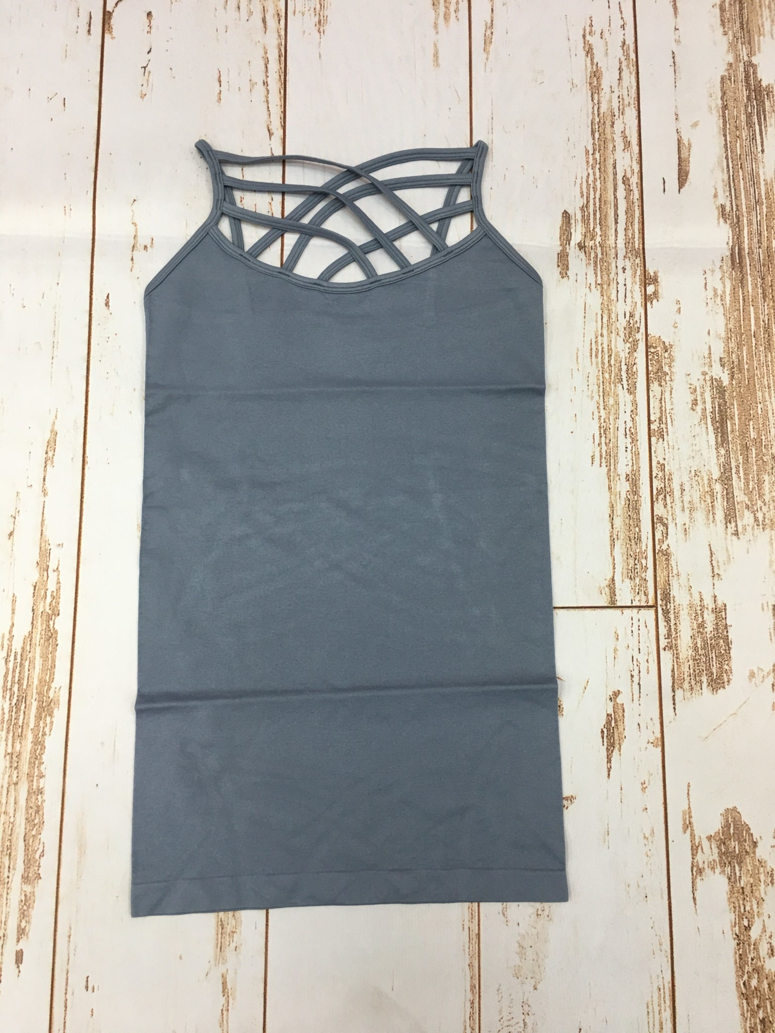 Zenana Seamless Triple Cross Cami Cement