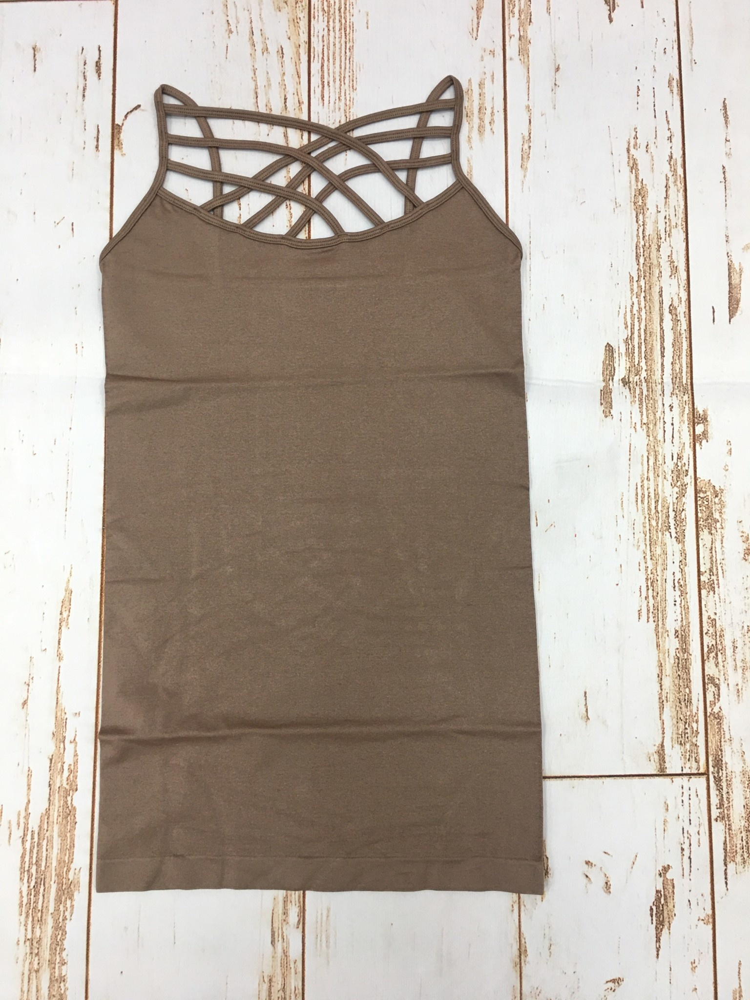 Zenana Seamless Triple Cross Cami Mocha