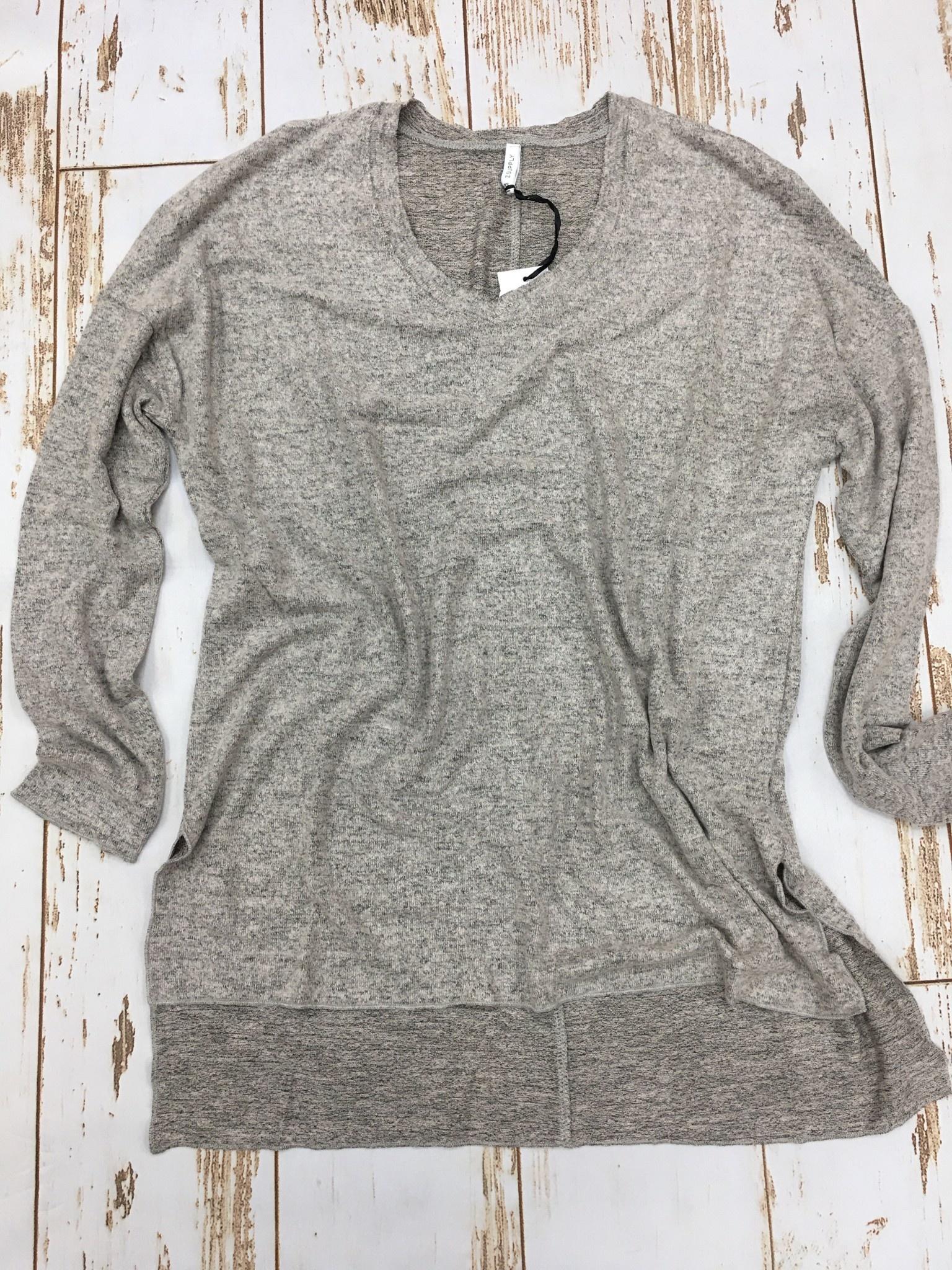 Z Supply Marled Sweater Tunic Mushroom