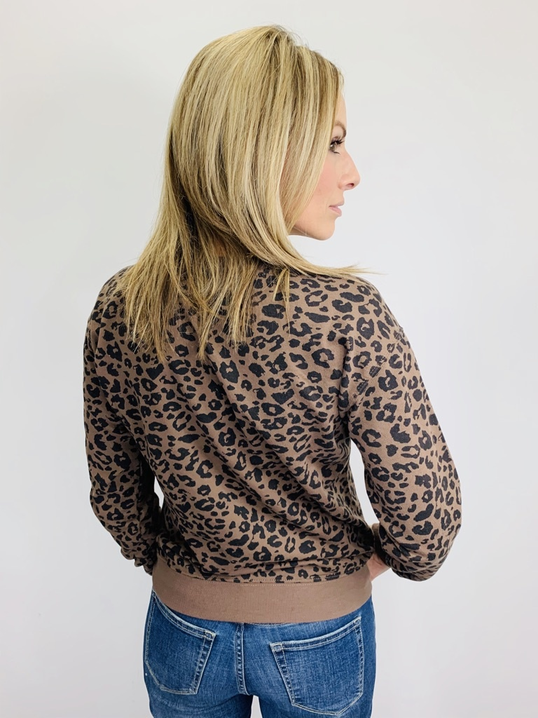 Z Supply Leopard Pullover French Roast