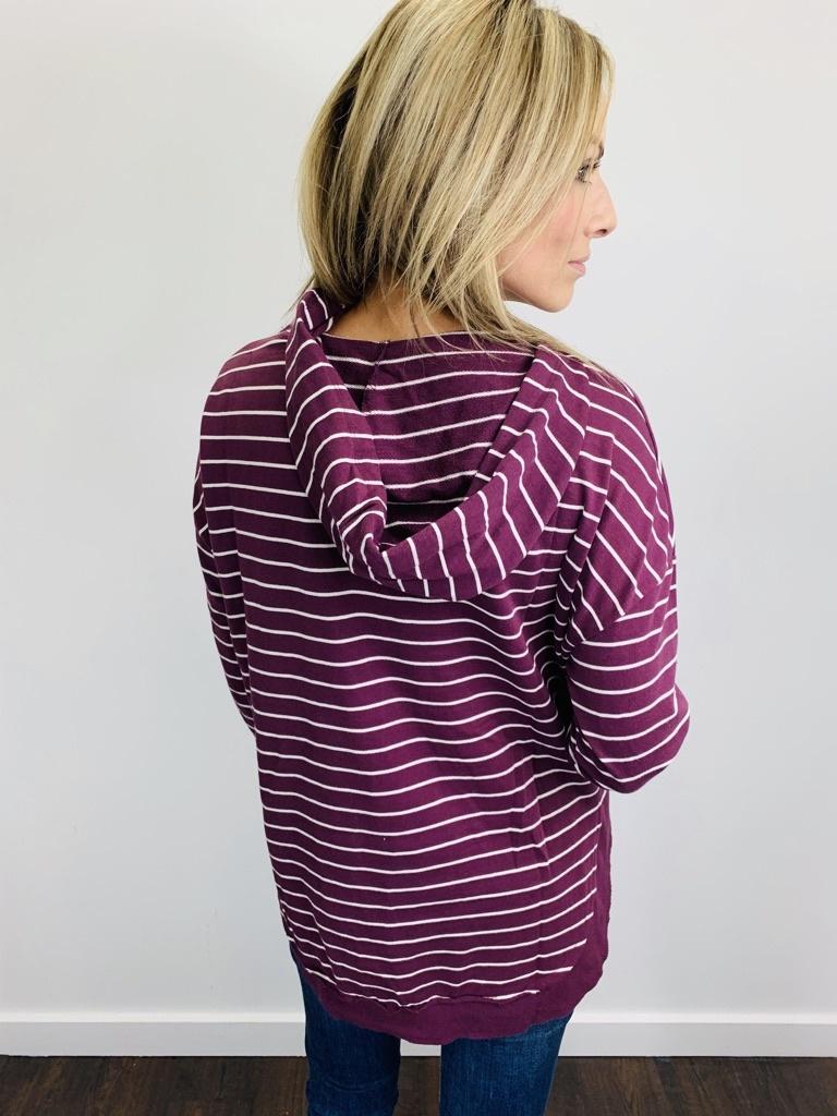 ZSupply Striped Dakota Pullover in Pearl/Mauve