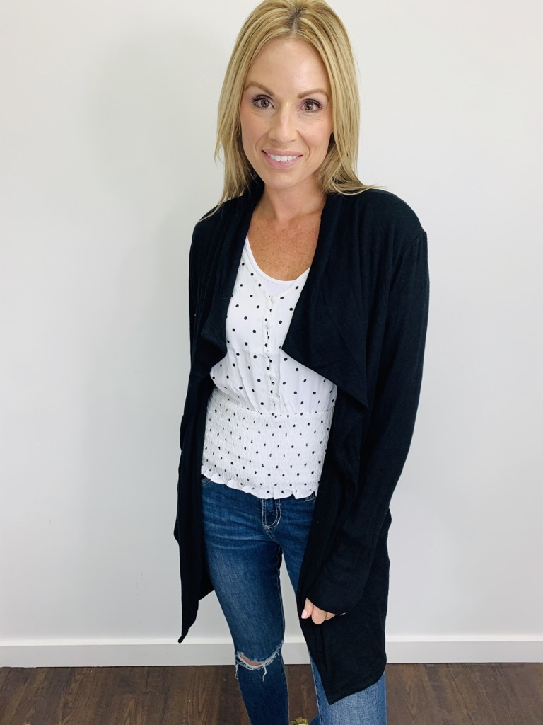 ZSupply Marled Wrap Front Cardigan in Black