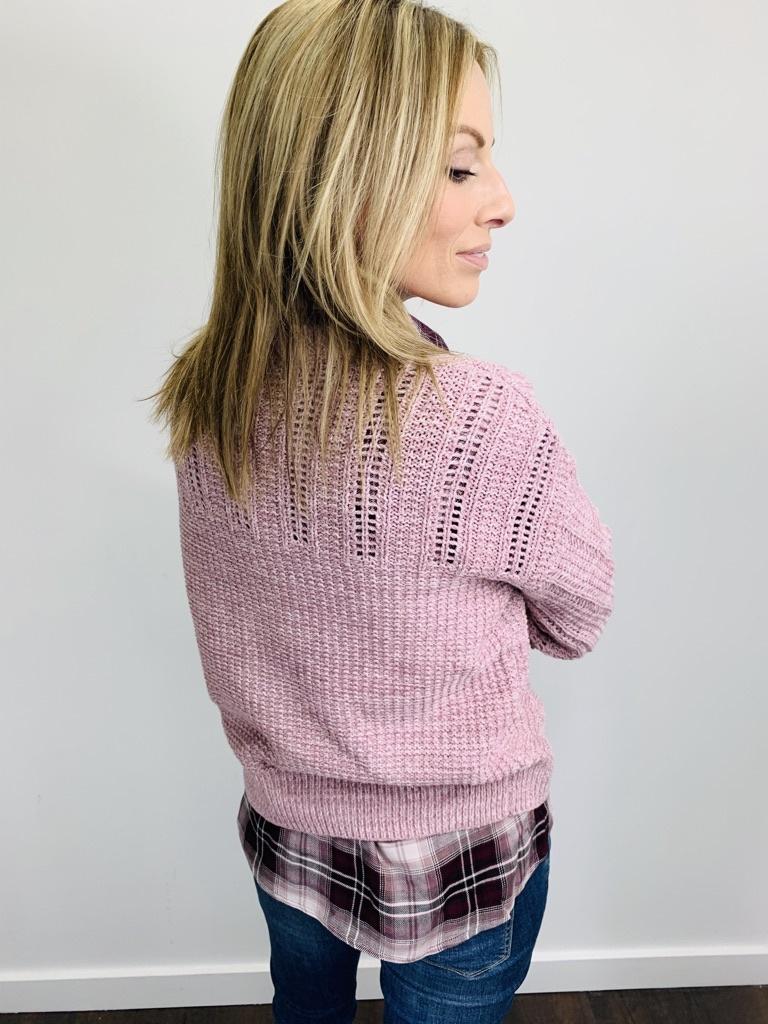 Dex Crew Neck Sweater in Pink Melange