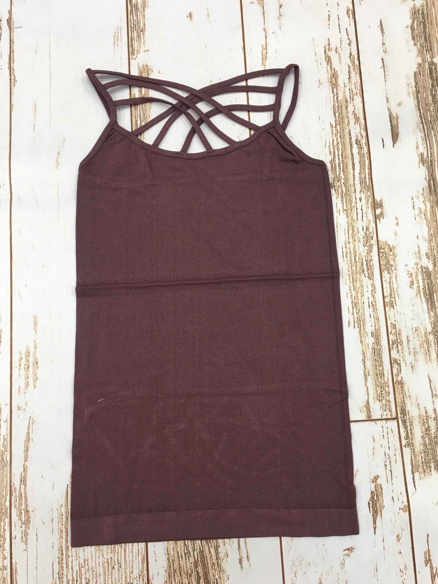 Zenana Triple Cross Cami Eggplant