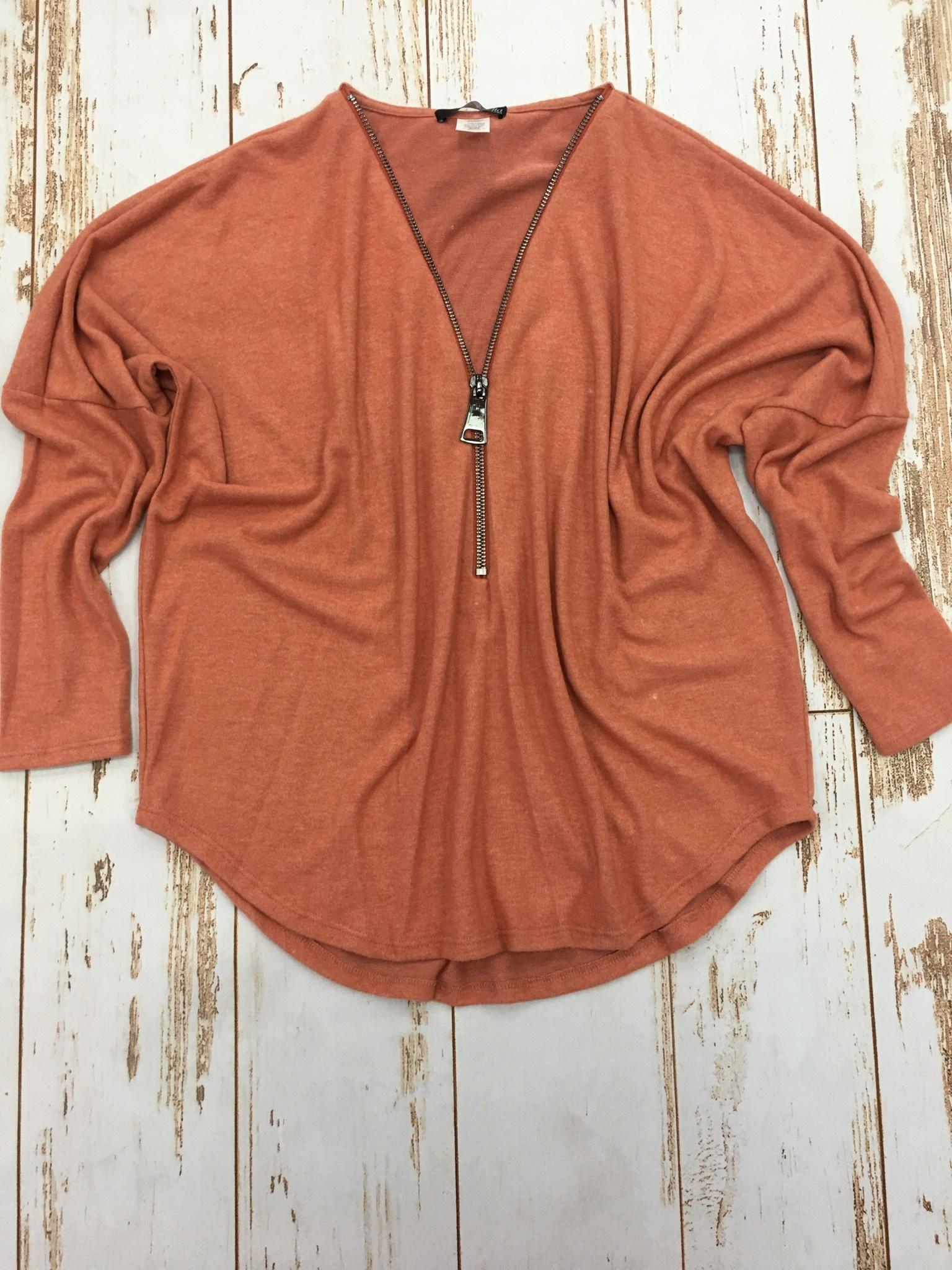 Ariella Rust Zipper Top