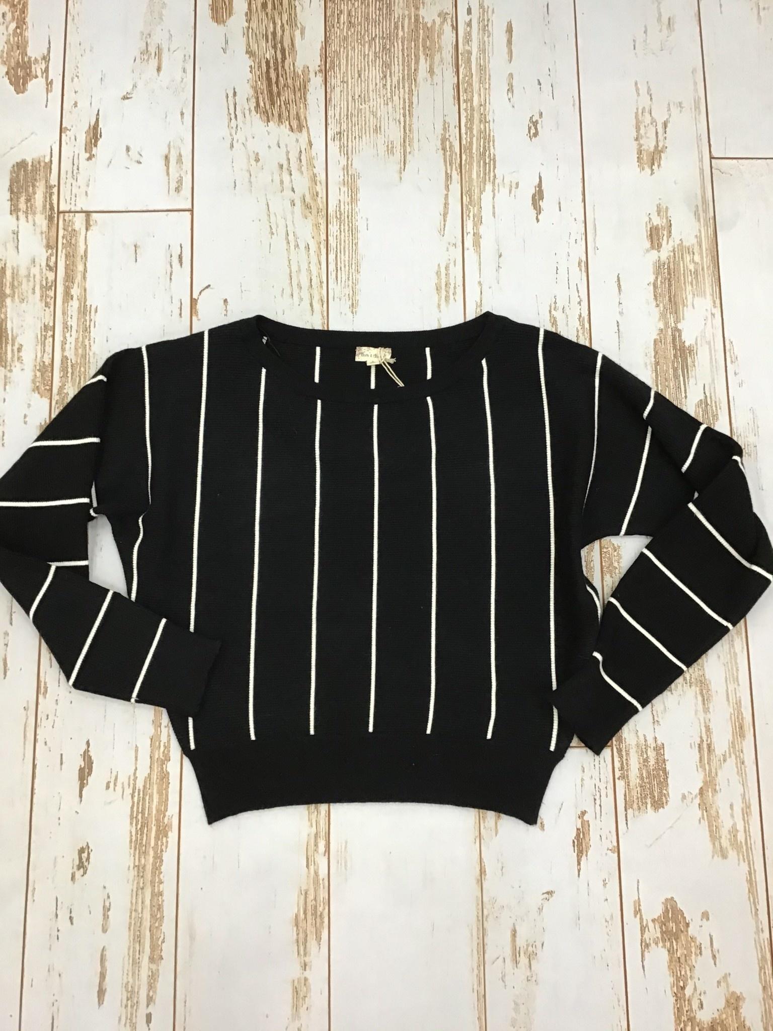 Hem & Thread Vertical Striped Dolman Sleeve Sweater