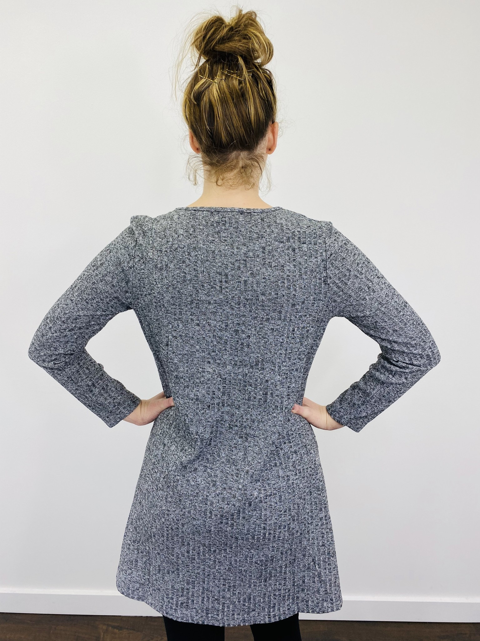 Papillon Ribbed A-Line Dress in Heathered Grey
