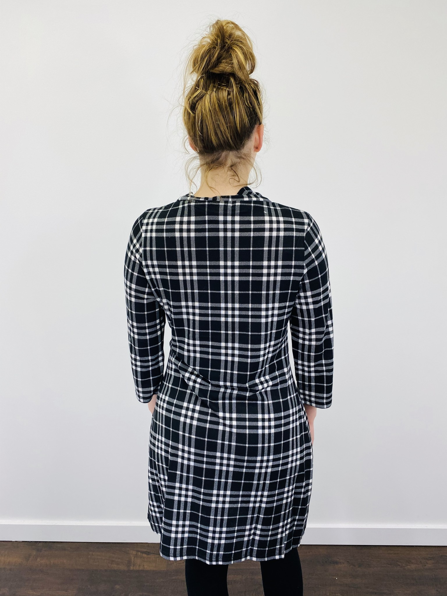 Papillon Plaid Cowl Neck Dress