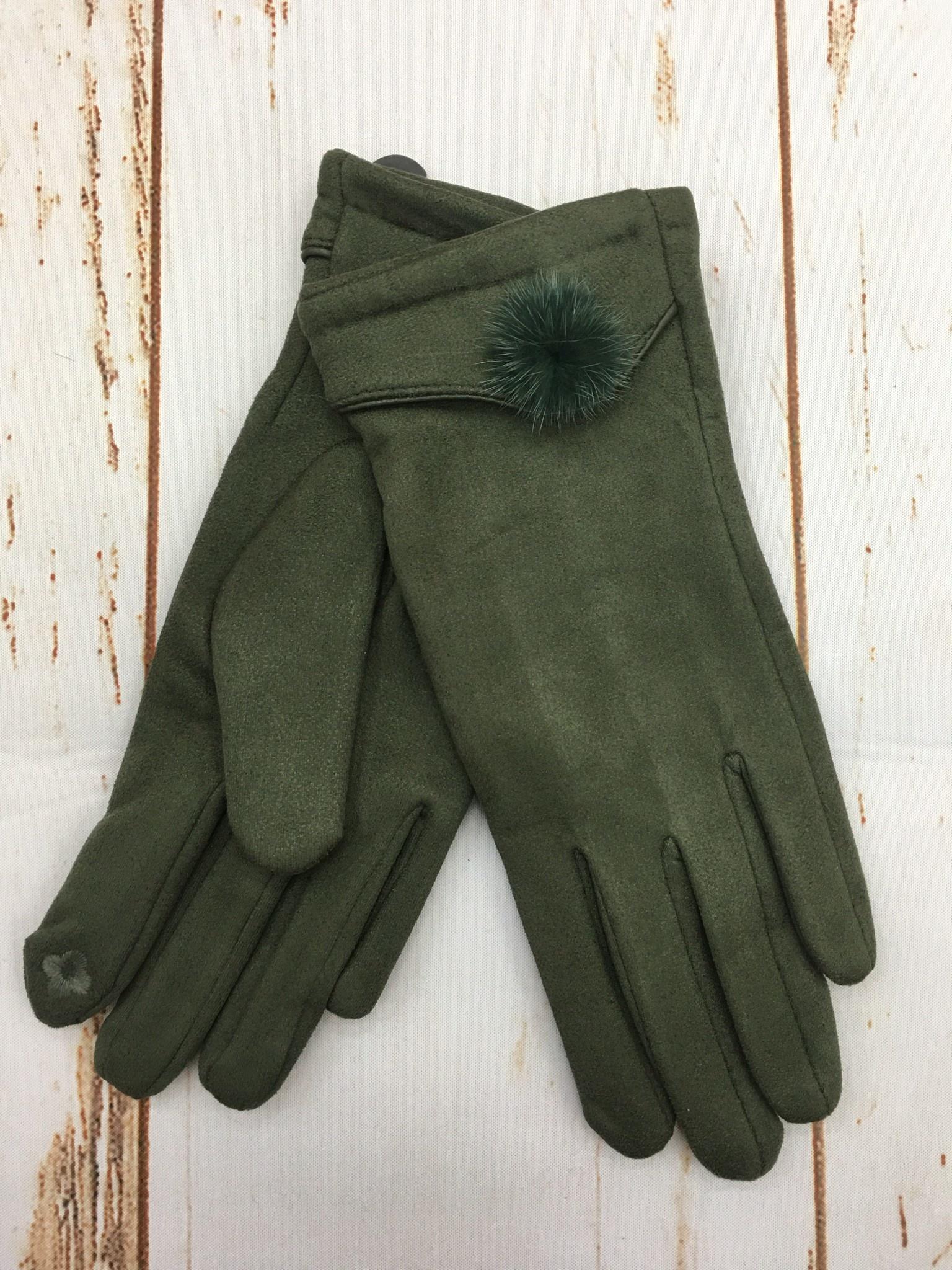 Top It Off Suede Glove W/Pom in Hunter Green