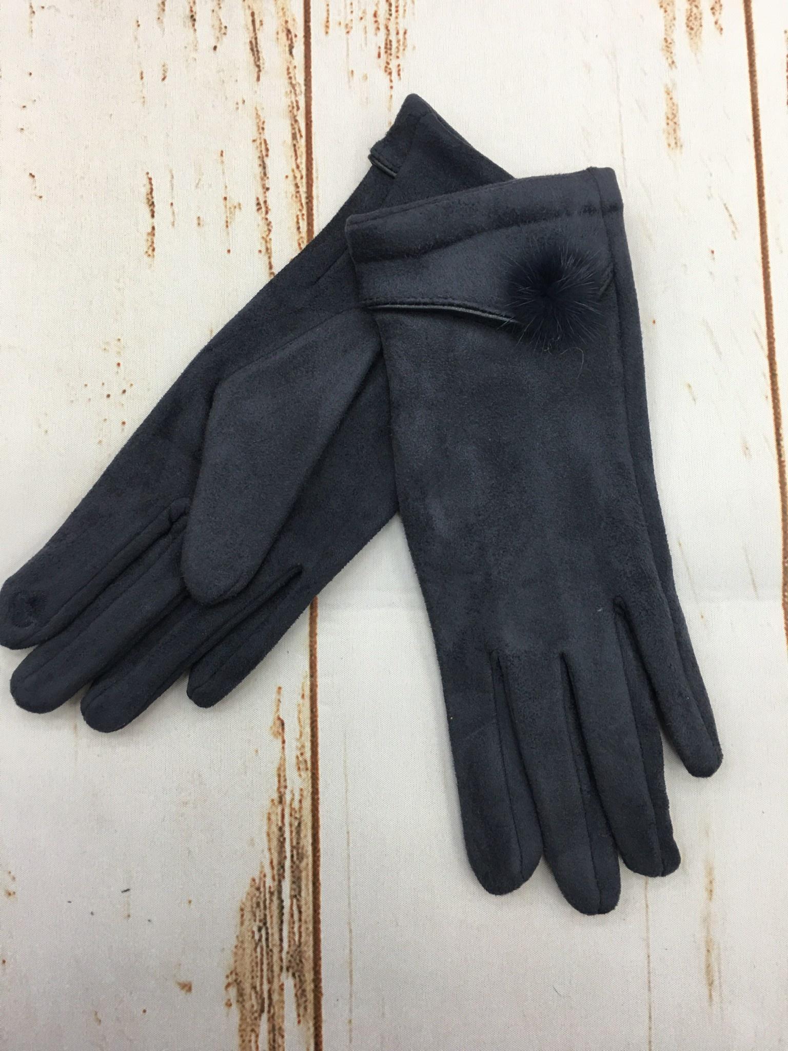 Top It Off Suede Glove W/Pom in Navy