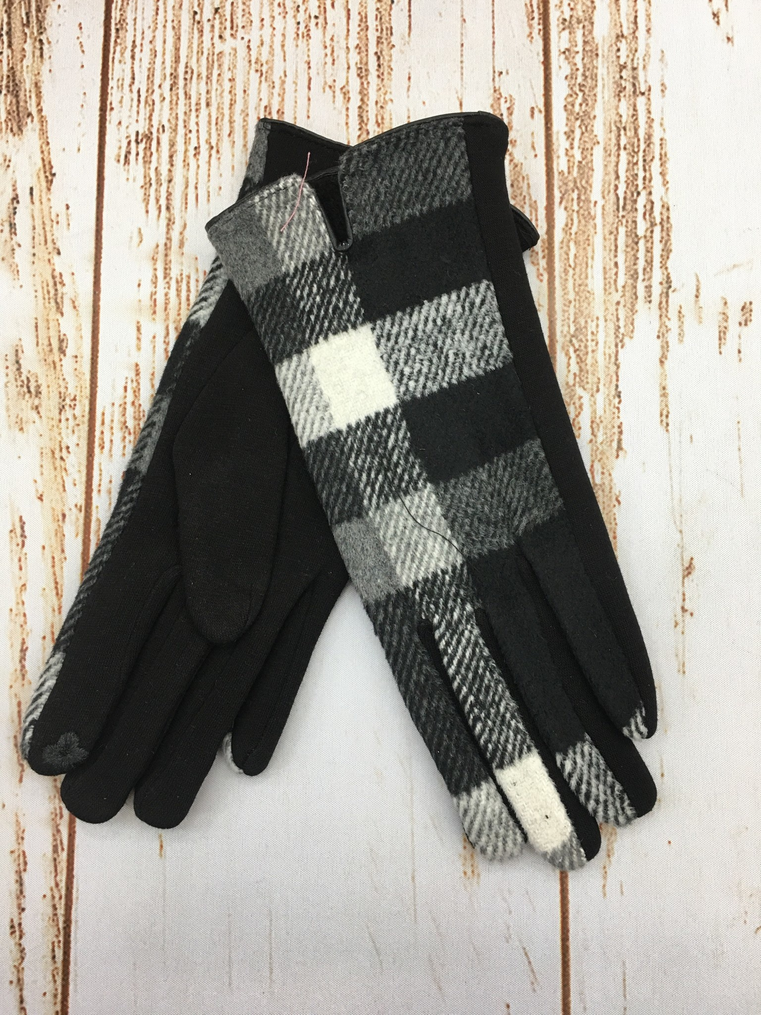 Top It Off Black and White Plaid Gloves