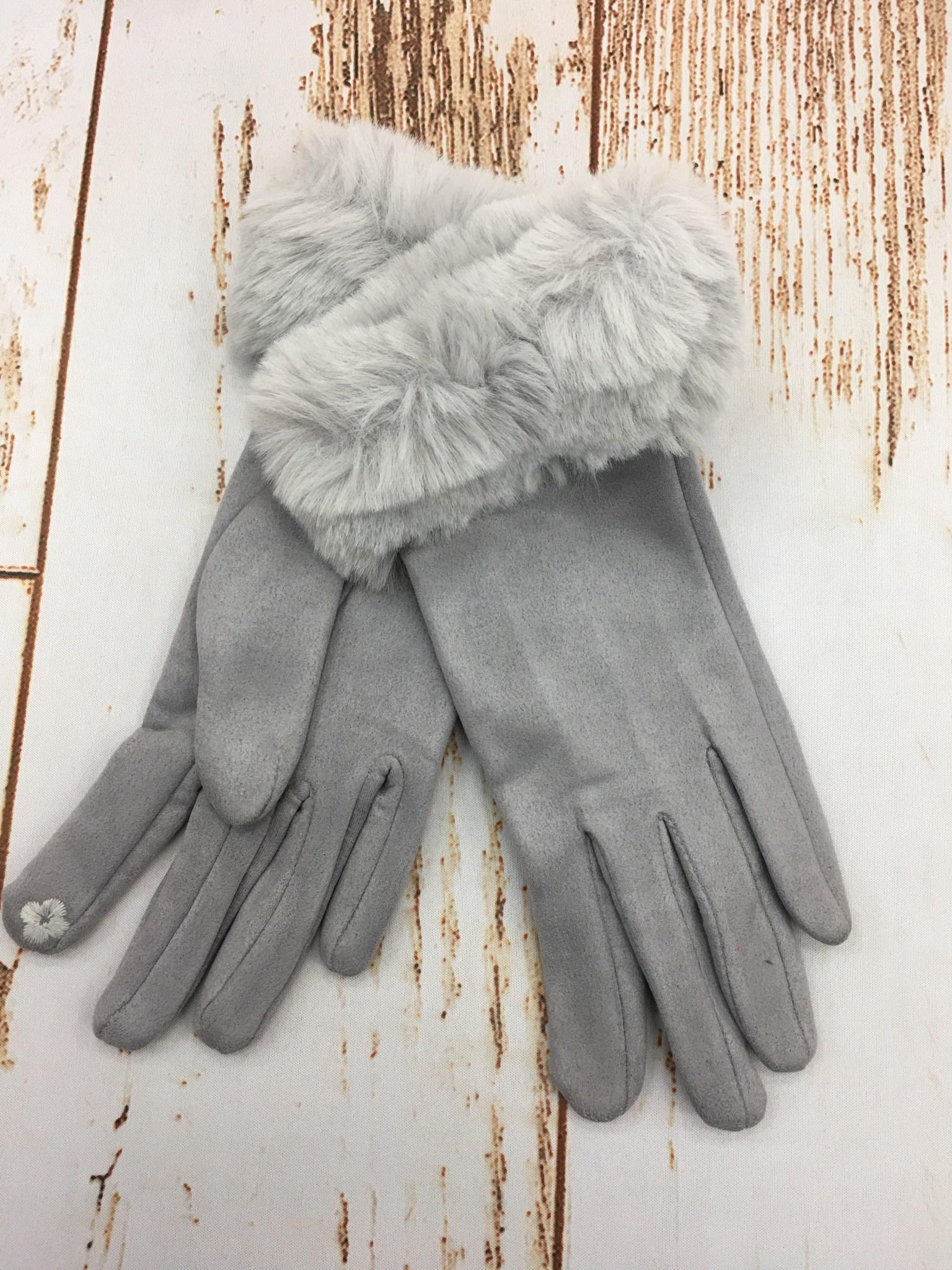 Top It Off Furry Trim Gloves in Grey